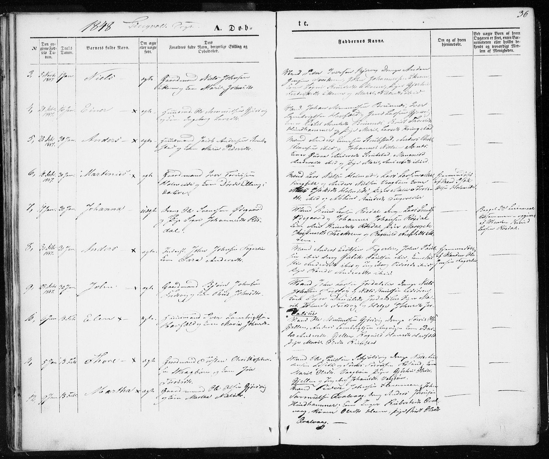SAT, Ministerialprotokoller, klokkerbøker og fødselsregistre - Møre og Romsdal, 586/L0984: Parish register (official) no. 586A10, 1844-1856, p. 36