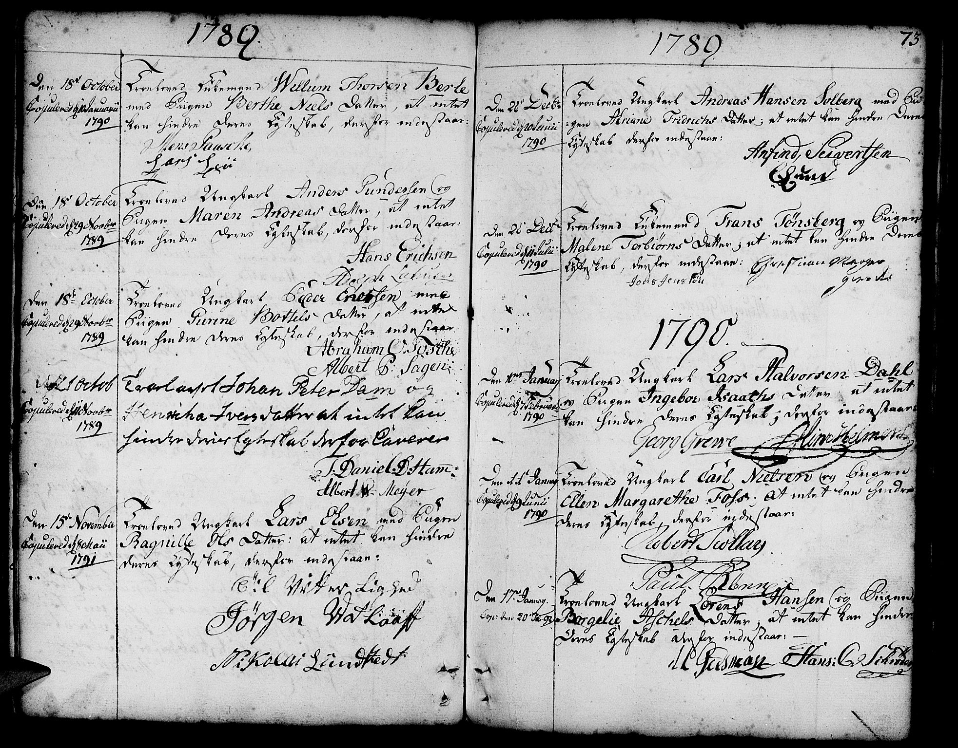 SAB, Nykirken Sokneprestembete, H/Haa: Parish register (official) no. A 8, 1776-1814, p. 73