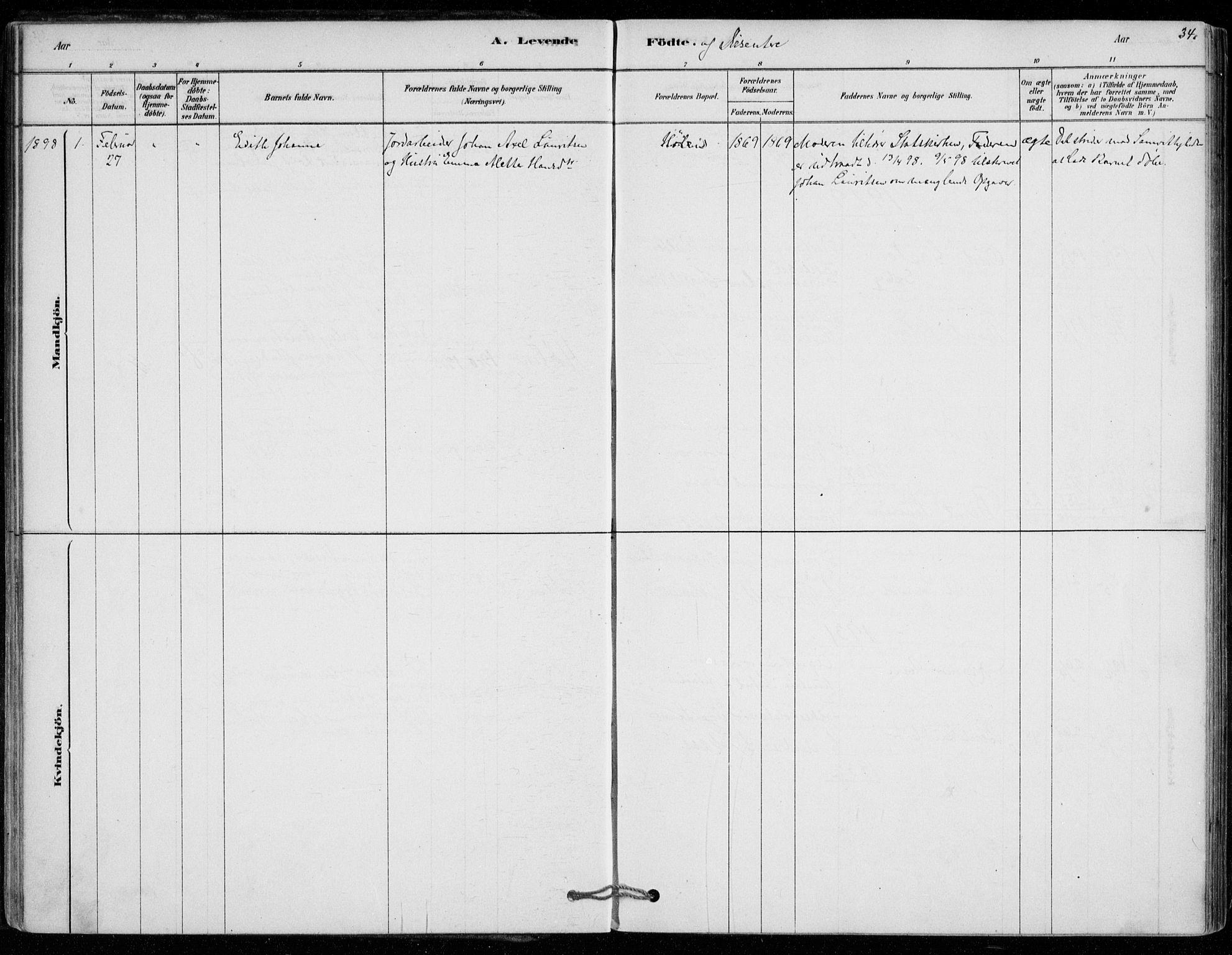 SAO, Vestby prestekontor Kirkebøker, F/Fe/L0001: Parish register (official) no. V 1, 1878-1931, p. 34