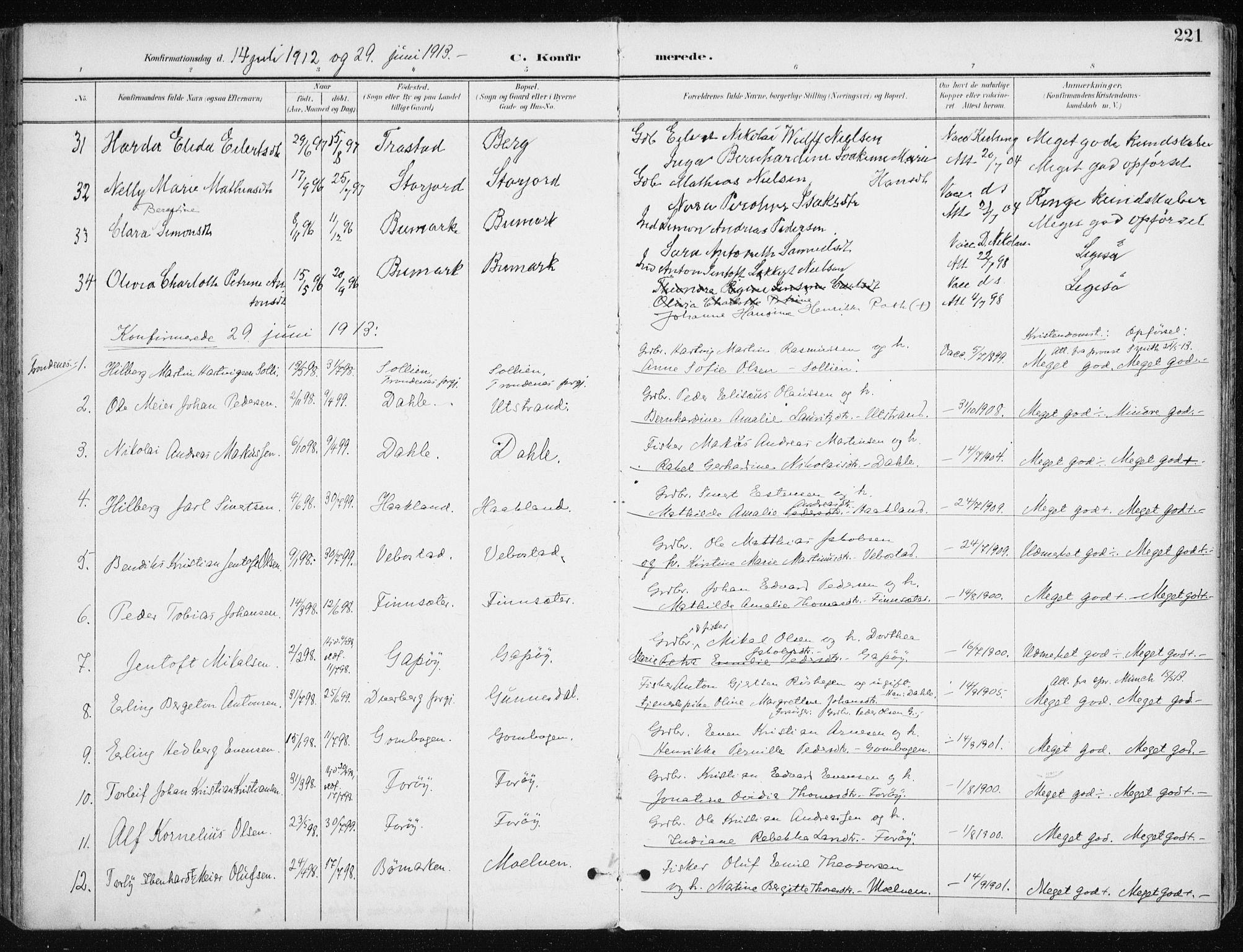 SATØ, Kvæfjord sokneprestkontor, G/Ga/Gaa/L0006kirke: Parish register (official) no. 6, 1895-1914, p. 221