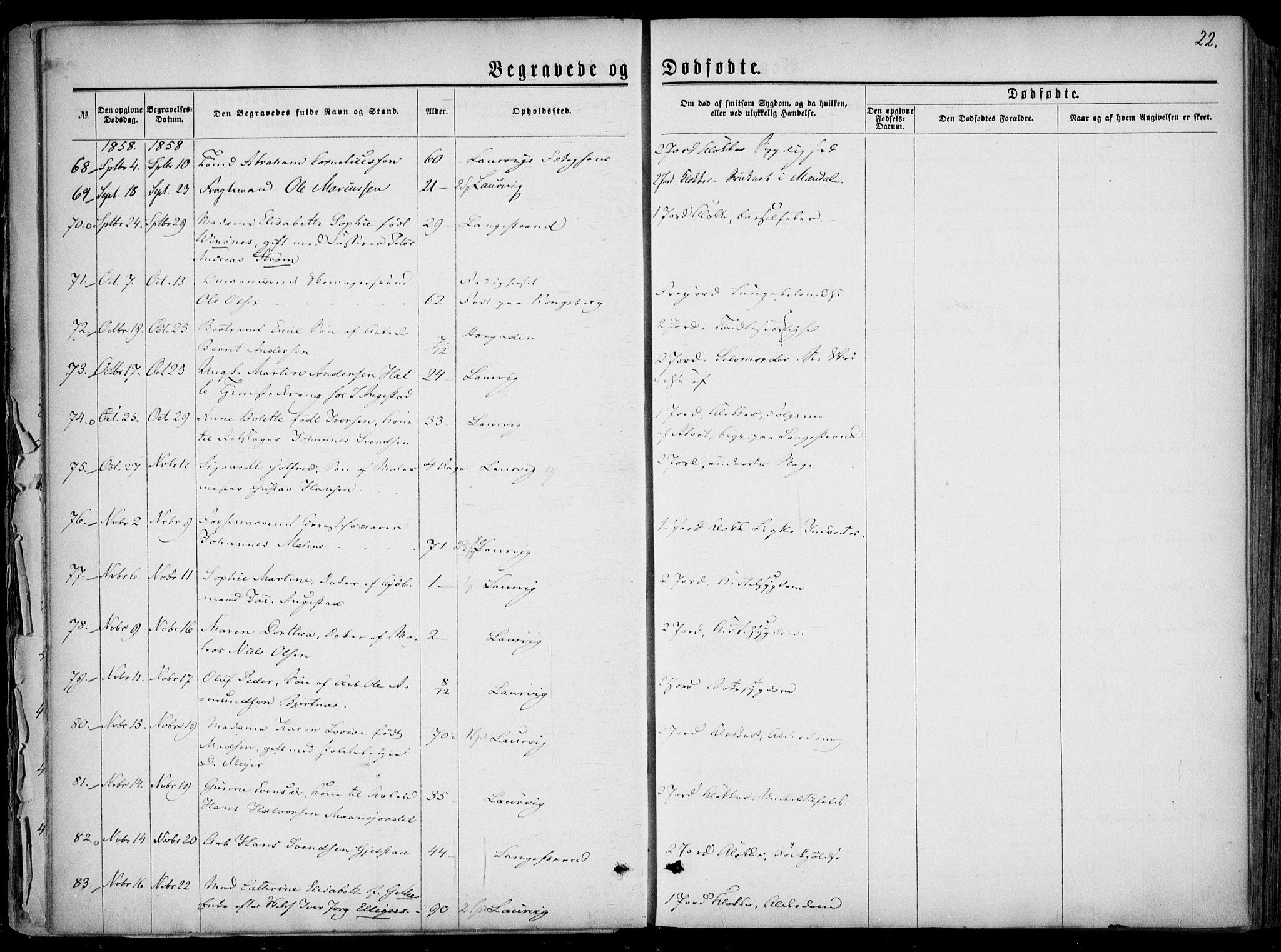 SAKO, Larvik kirkebøker, F/Fa/L0005: Parish register (official) no. I 5, 1856-1870, p. 22