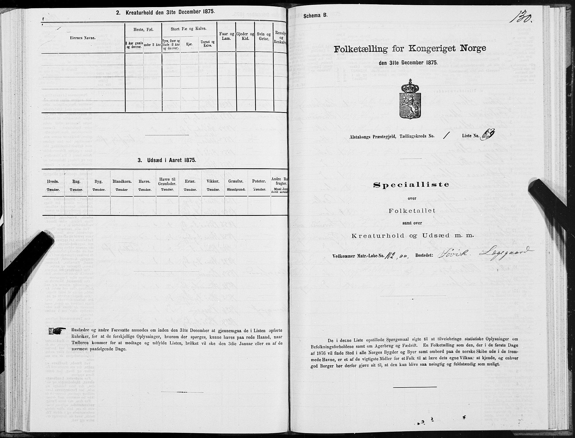 SAT, 1875 census for 1820P Alstahaug, 1875, p. 1130