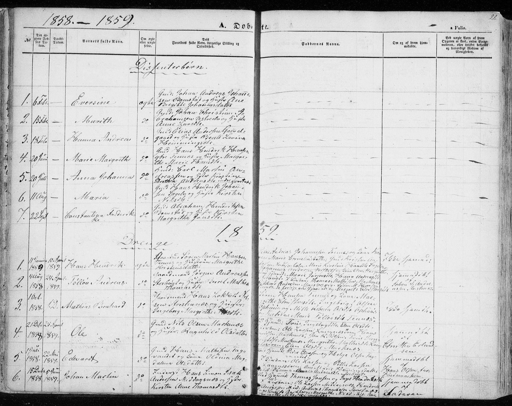 SATØ, Balsfjord sokneprestembete, Parish register (official) no. 3, 1856-1870, p. 22