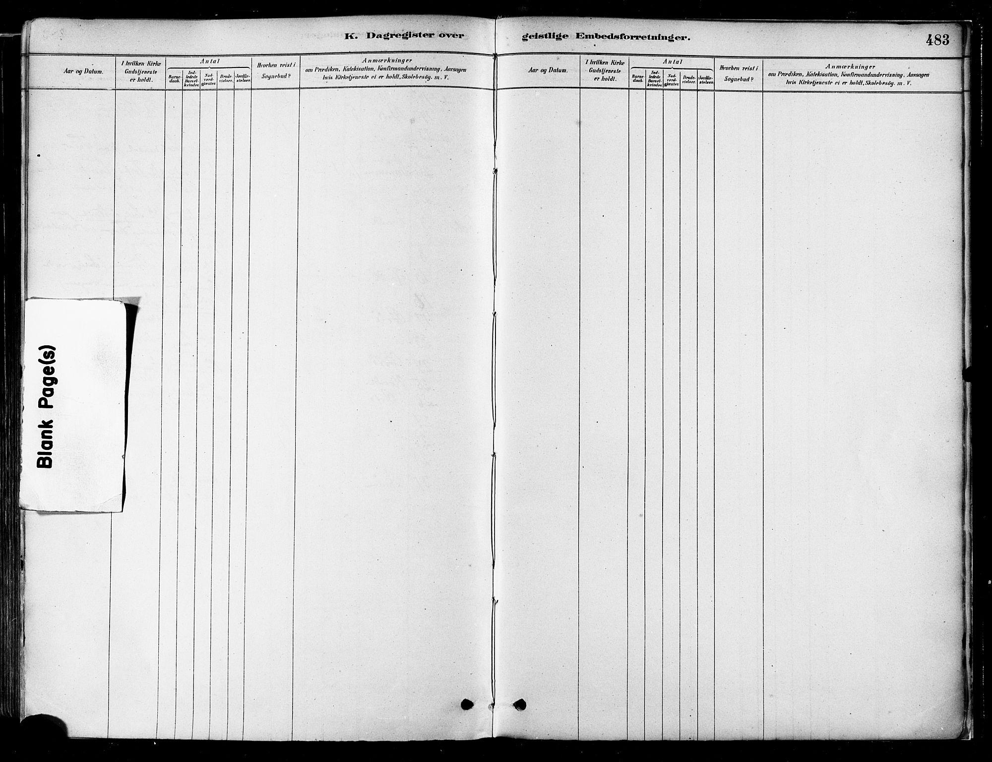 SAT, Ministerialprotokoller, klokkerbøker og fødselsregistre - Nordland, 802/L0054: Parish register (official) no. 802A01, 1879-1893, p. 483