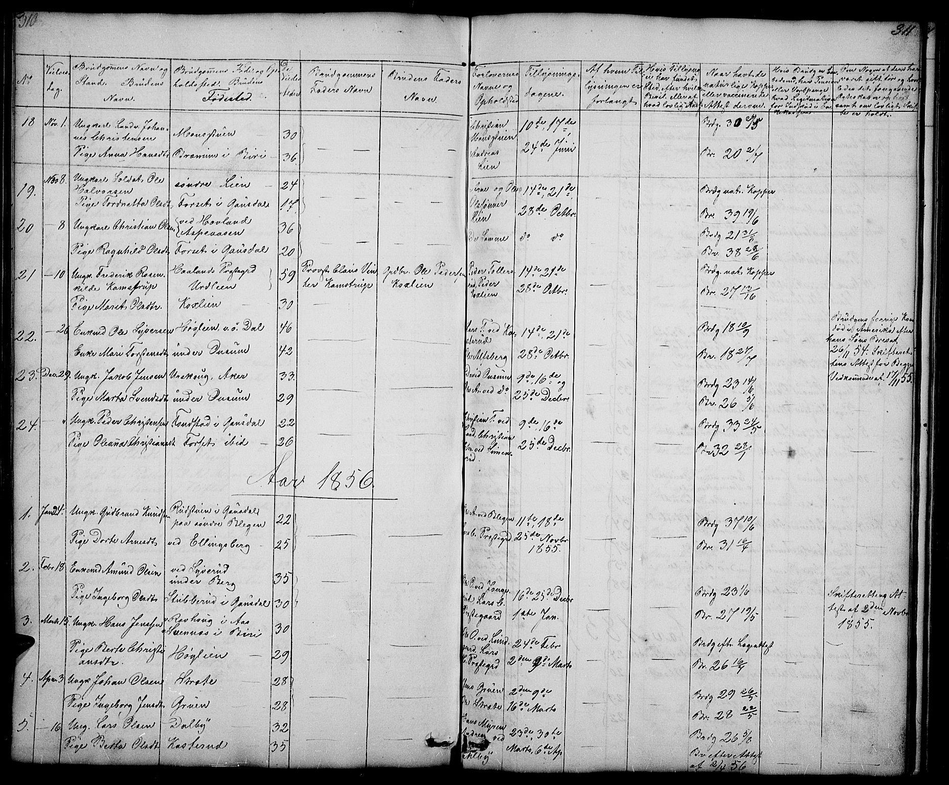 SAH, Fåberg prestekontor, Parish register (copy) no. 5, 1837-1864, p. 310-311