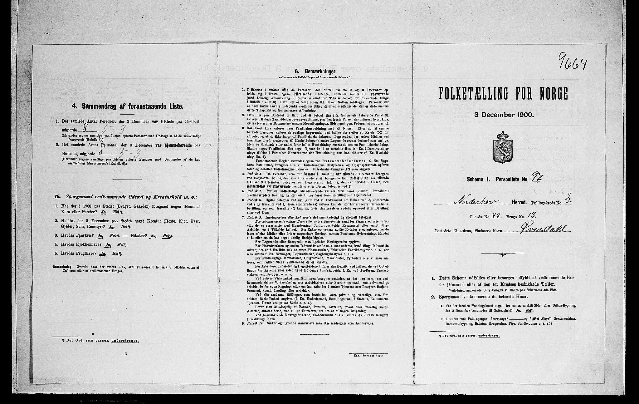 RA, 1900 census for Norderhov, 1900, p. 833