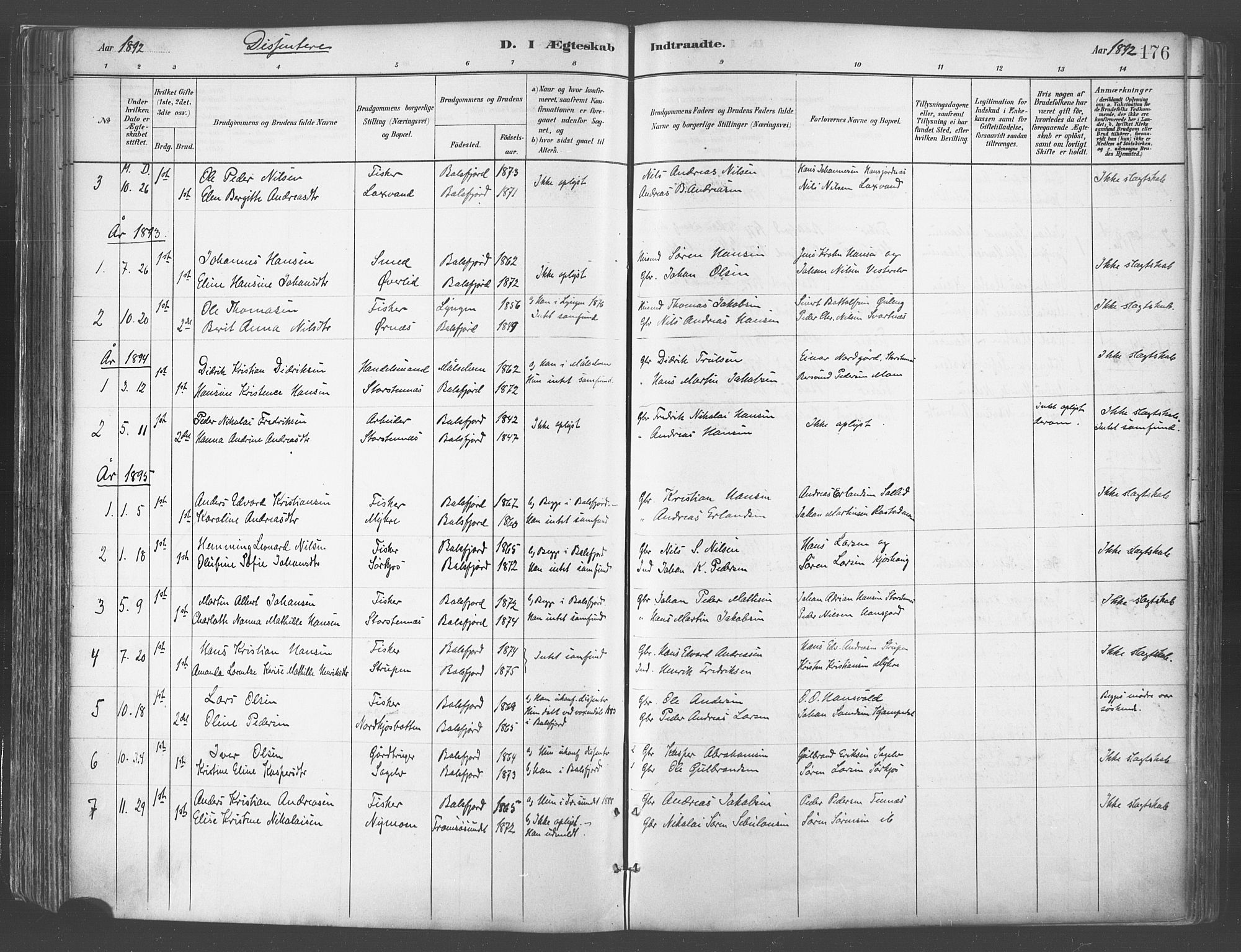 SATØ, Balsfjord sokneprestembete, Parish register (official) no. 5, 1884-1897, p. 176