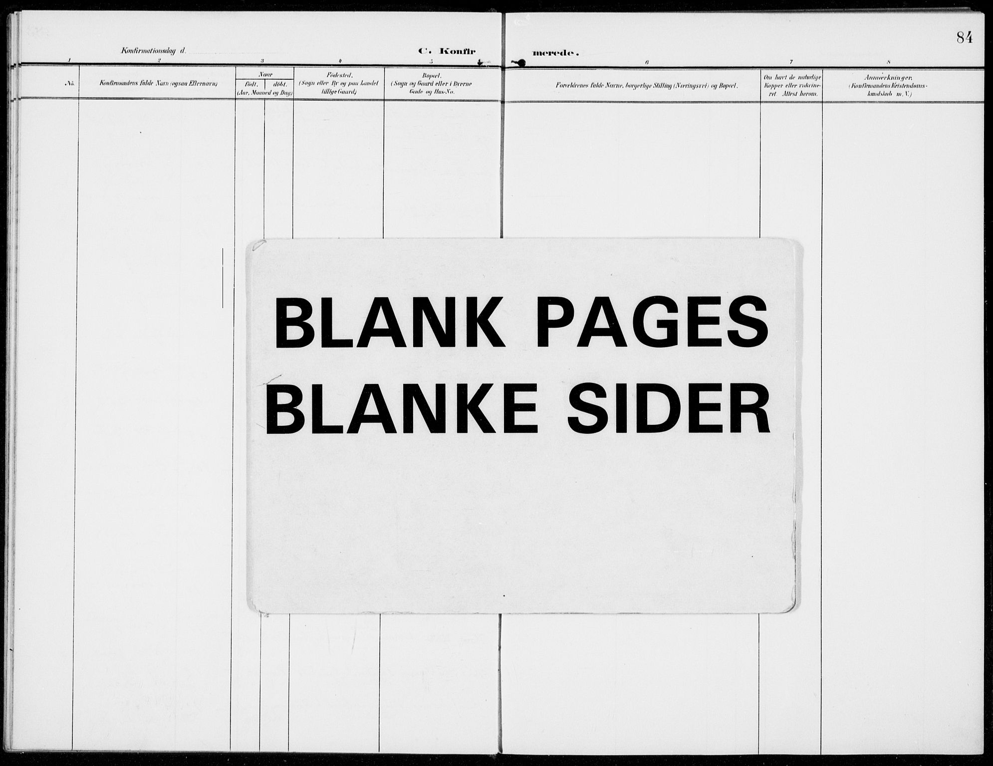 SAH, Sel prestekontor, Parish register (official) no. 1, 1905-1922, p. 84