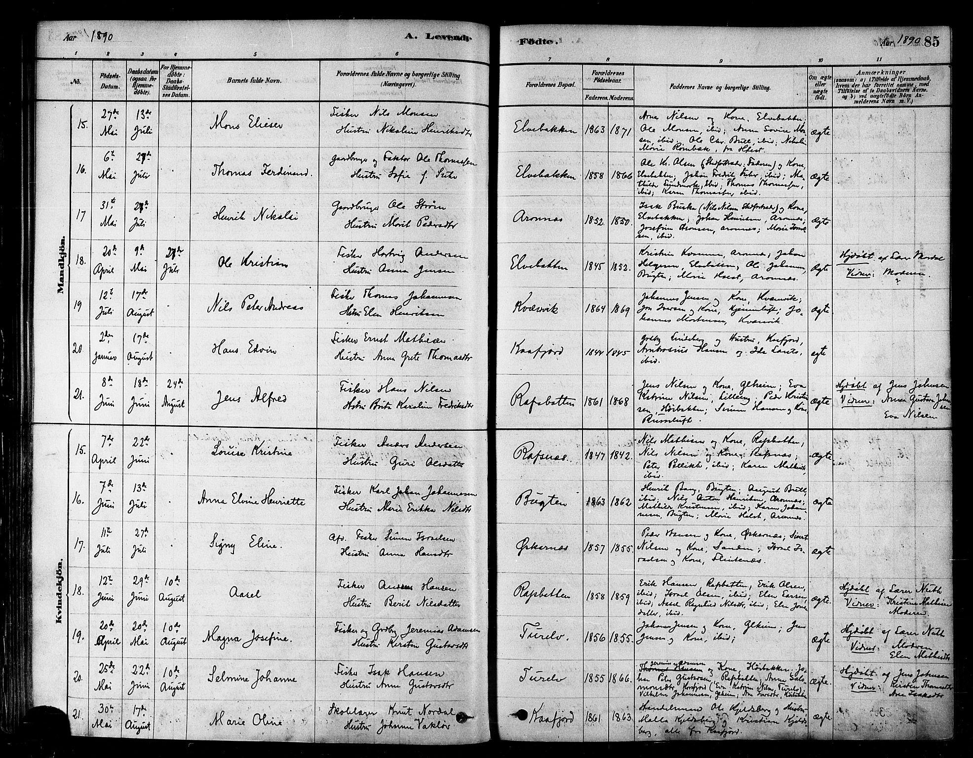 SATØ, Alta sokneprestkontor, H/Ha/L0002.kirke: Parish register (official) no. 2, 1879-1892, p. 85