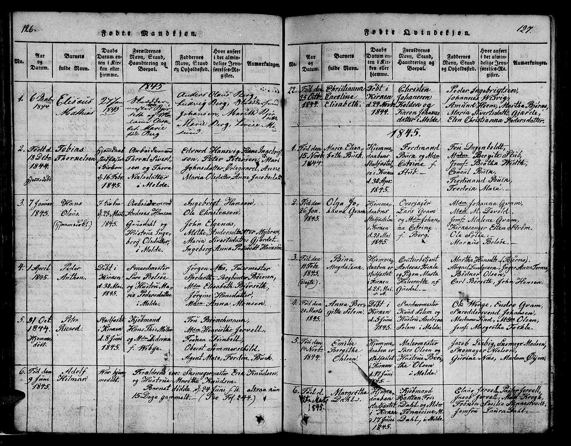 SAT, Ministerialprotokoller, klokkerbøker og fødselsregistre - Møre og Romsdal, 558/L0700: Parish register (copy) no. 558C01, 1818-1868, p. 126-127