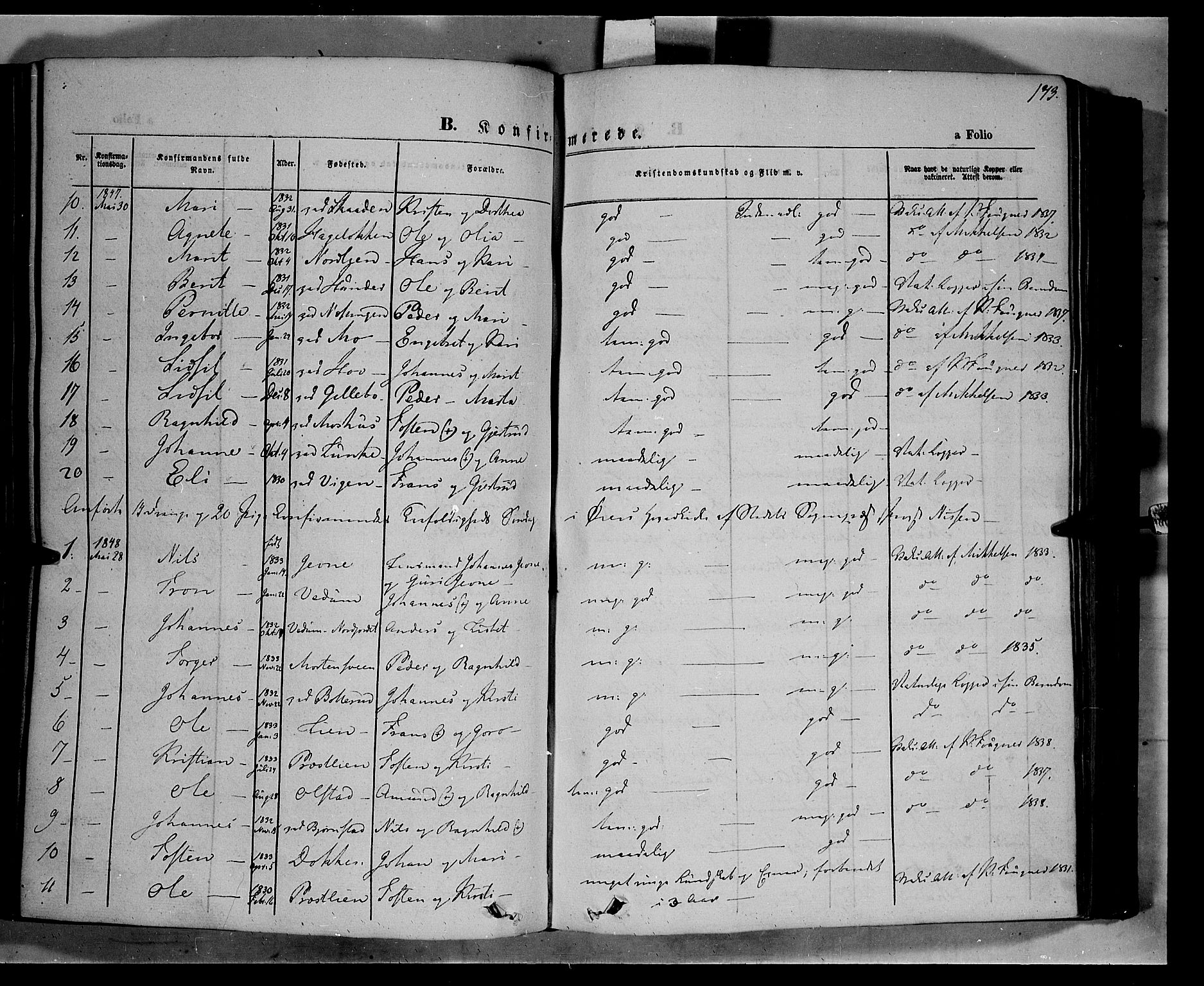 SAH, Øyer prestekontor, Parish register (official) no. 5, 1842-1857, p. 173