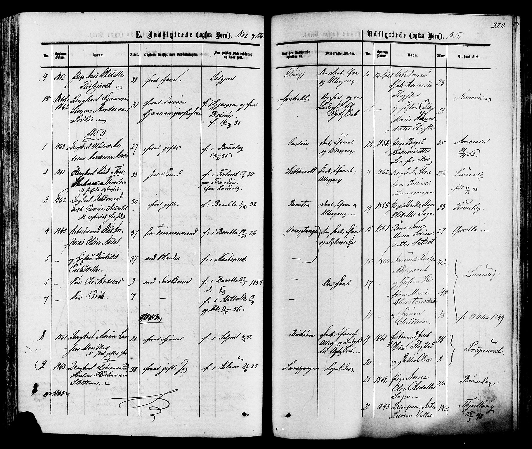 SAKO, Eidanger kirkebøker, F/Fa/L0010: Parish register (official) no. 10, 1859-1874, p. 322