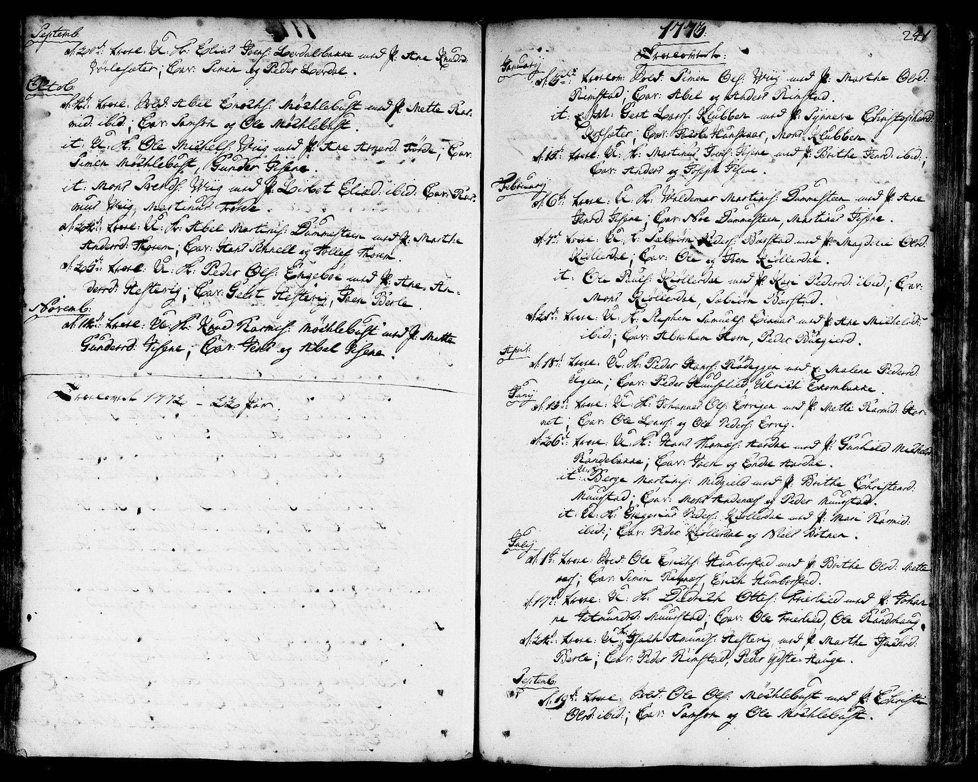 SAB, Davik Sokneprestembete, Parish register (official) no. A 2, 1742-1816, p. 241