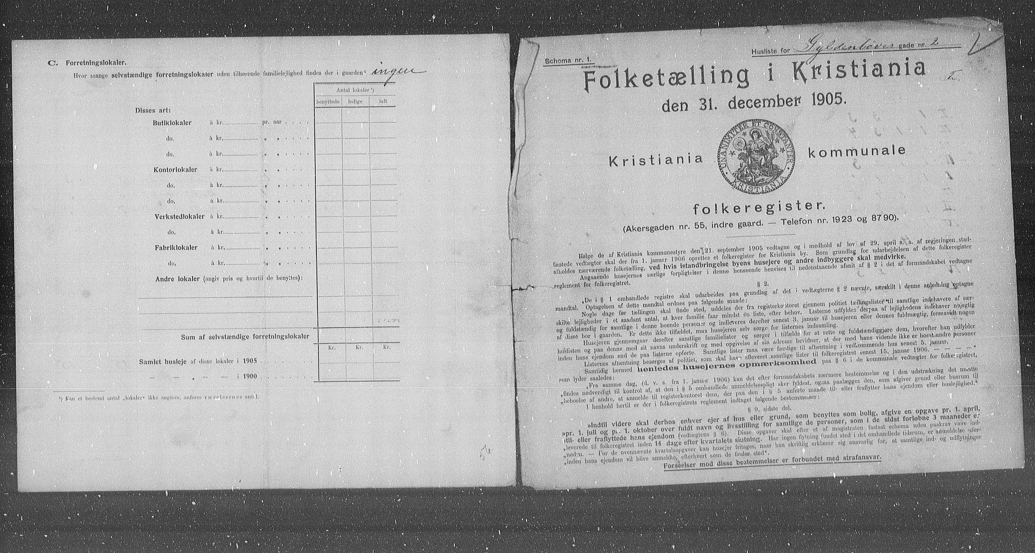 OBA, Municipal Census 1905 for Kristiania, 1905, p. 17074