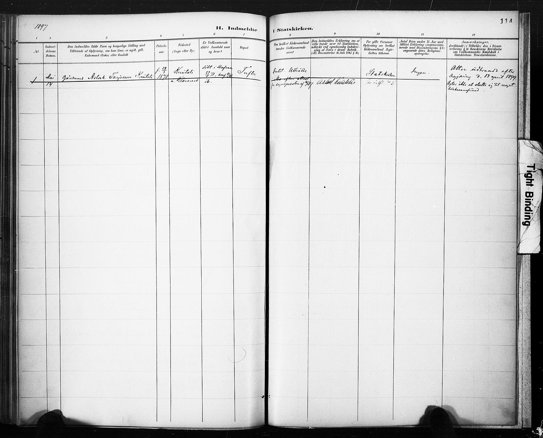 SAKO, Lårdal kirkebøker, F/Fc/L0002: Parish register (official) no. III 2, 1887-1906, p. 114