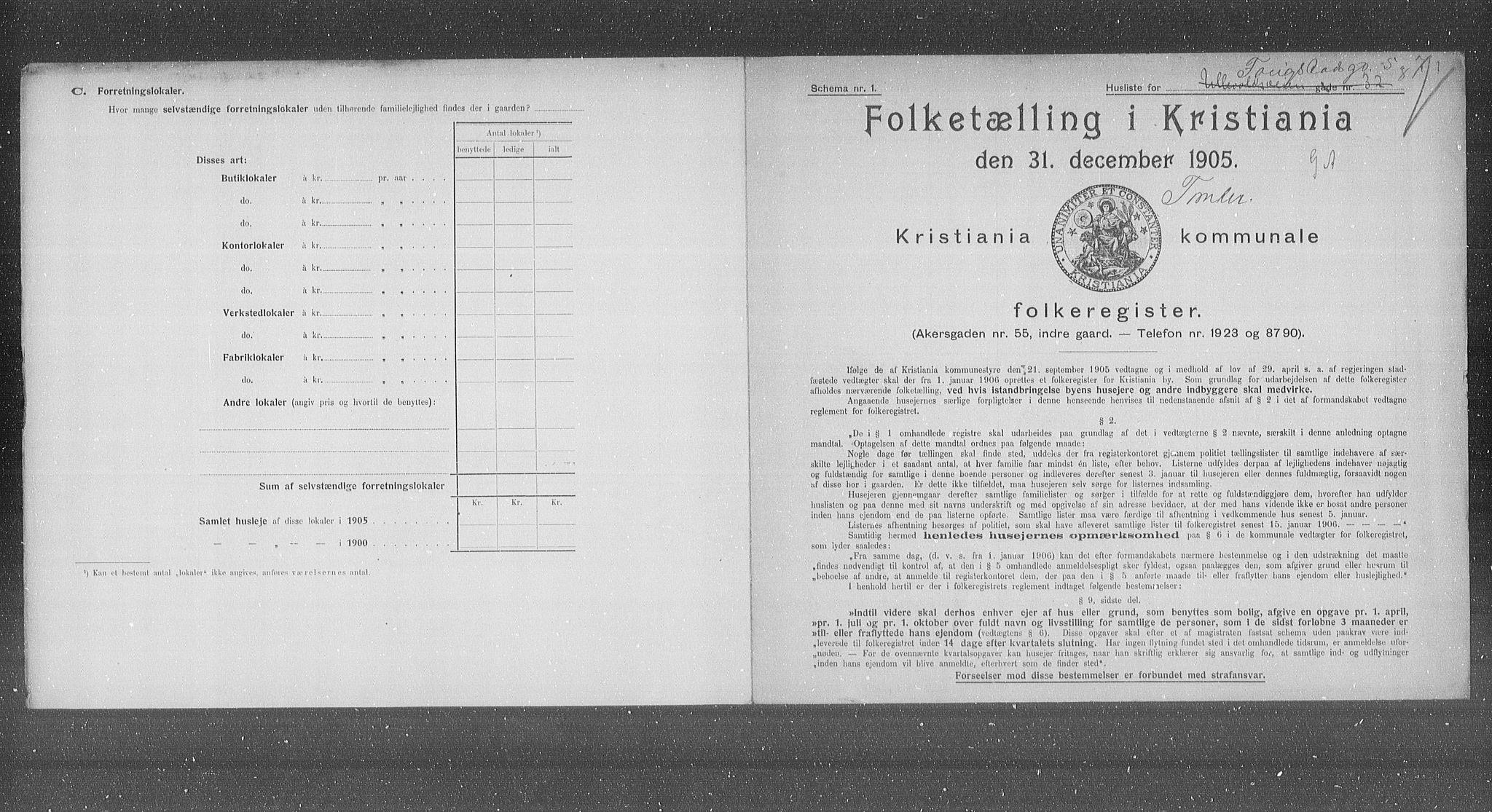OBA, Municipal Census 1905 for Kristiania, 1905, p. 13096