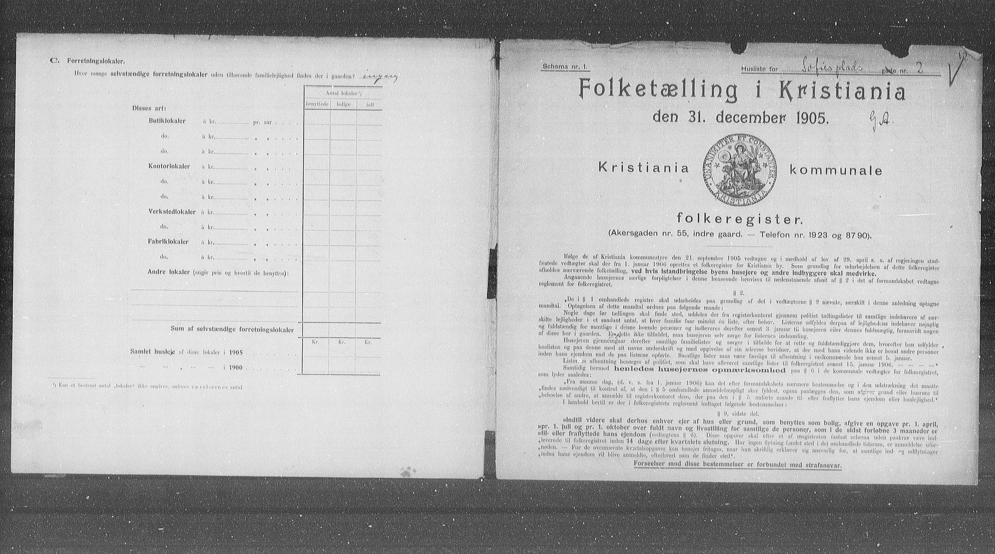 OBA, Municipal Census 1905 for Kristiania, 1905, p. 51535