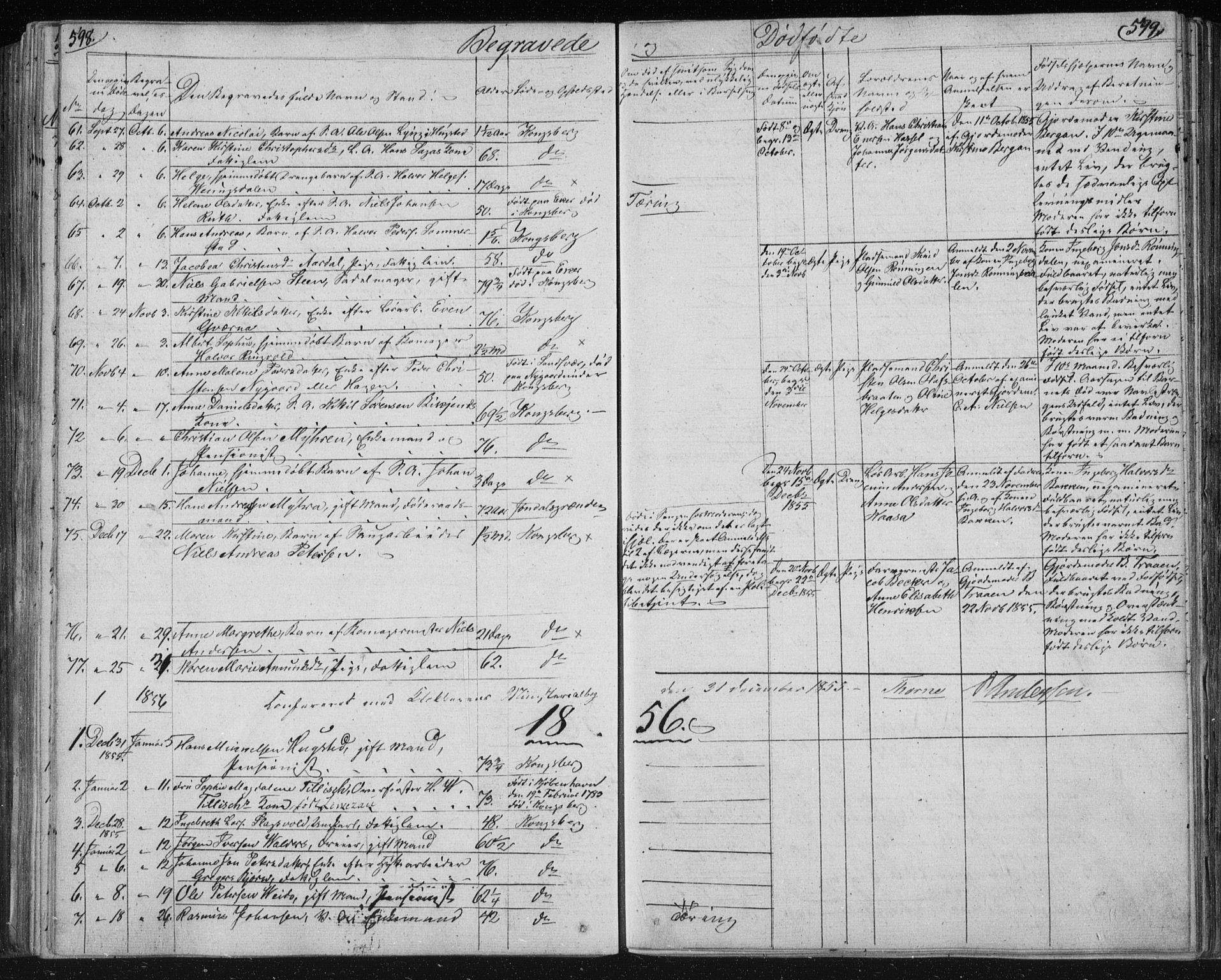 SAKO, Kongsberg kirkebøker, F/Fa/L0009: Parish register (official) no. I 9, 1839-1858, p. 598-599