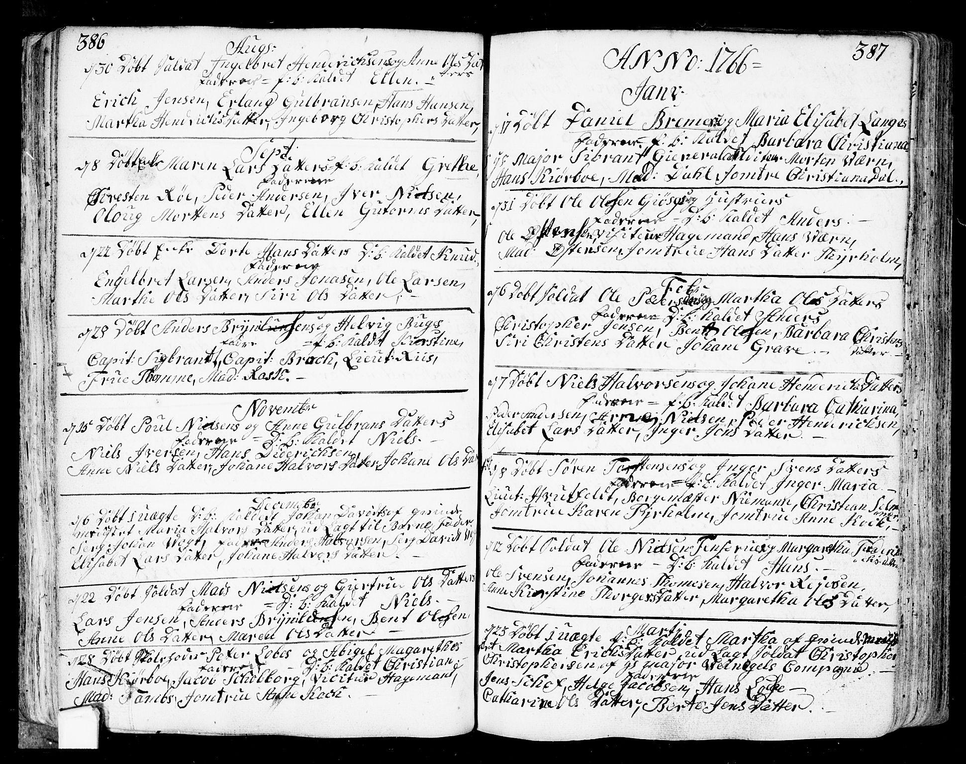 SAO, Fredrikstad prestekontor Kirkebøker, F/Fa/L0002: Parish register (official) no. 2, 1750-1804, p. 386-387