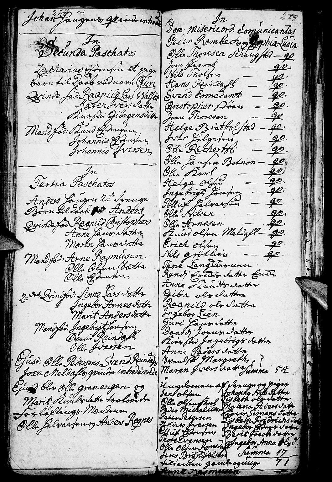 SAH, Kvikne prestekontor, Parish register (official) no. 1, 1740-1756, p. 278-279