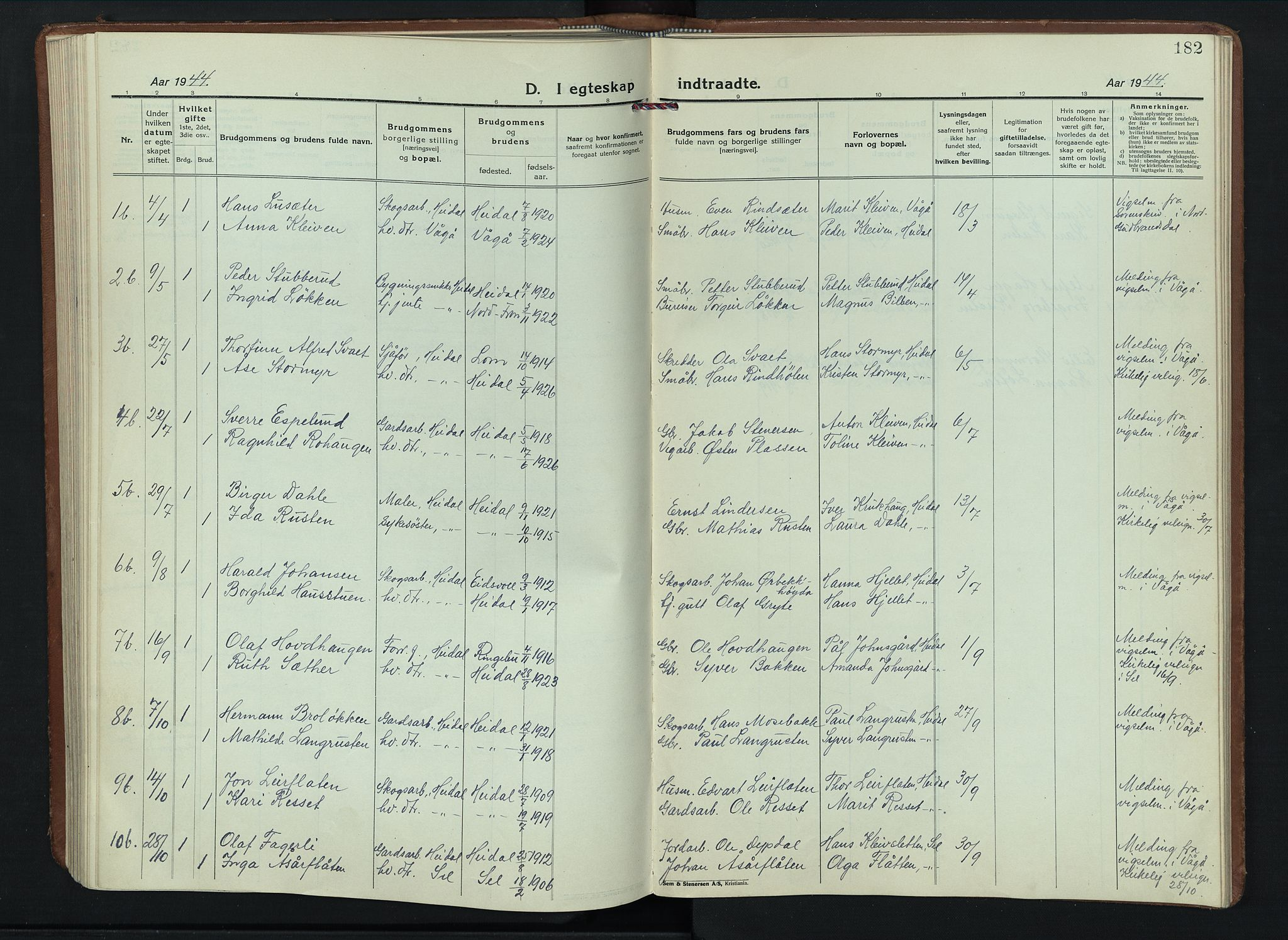 SAH, Sel prestekontor, Parish register (copy) no. 6, 1923-1953, p. 182