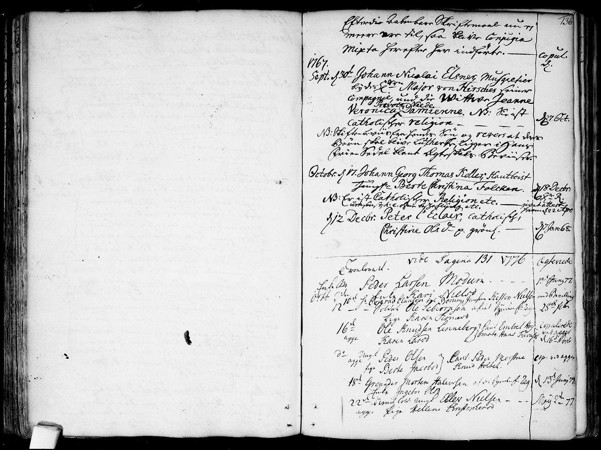 SAO, Garnisonsmenigheten Kirkebøker, F/Fa/L0002: Parish register (official) no. 2, 1757-1776, p. 136