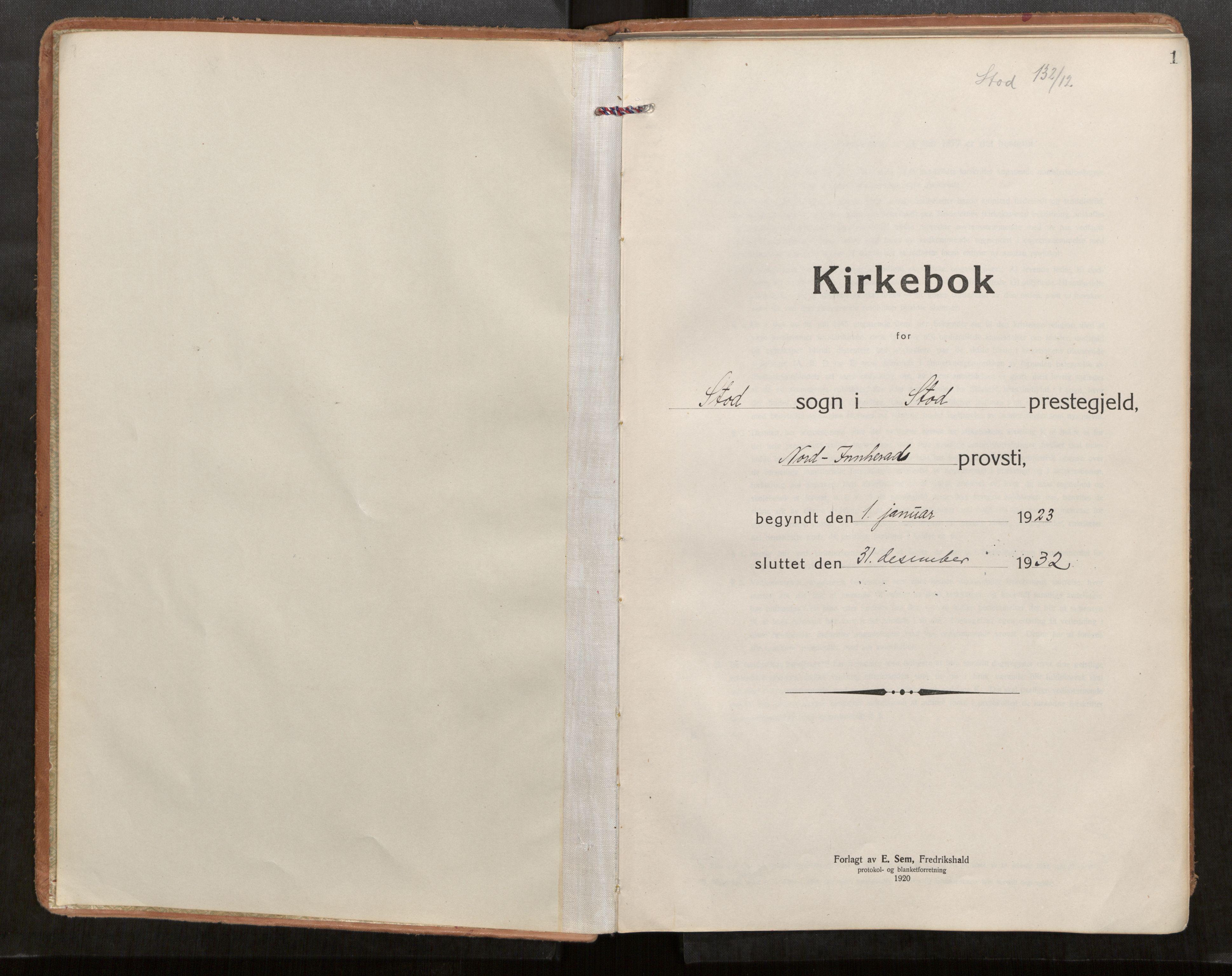 SAT, Stod sokneprestkontor, I/I1/I1a/L0005: Parish register (official) no. 5, 1923-1932, p. 1