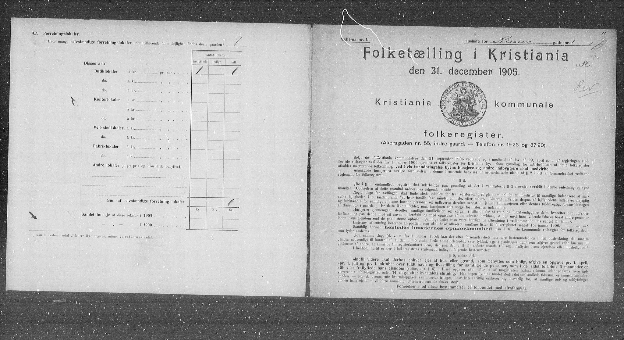 OBA, Municipal Census 1905 for Kristiania, 1905, p. 37410