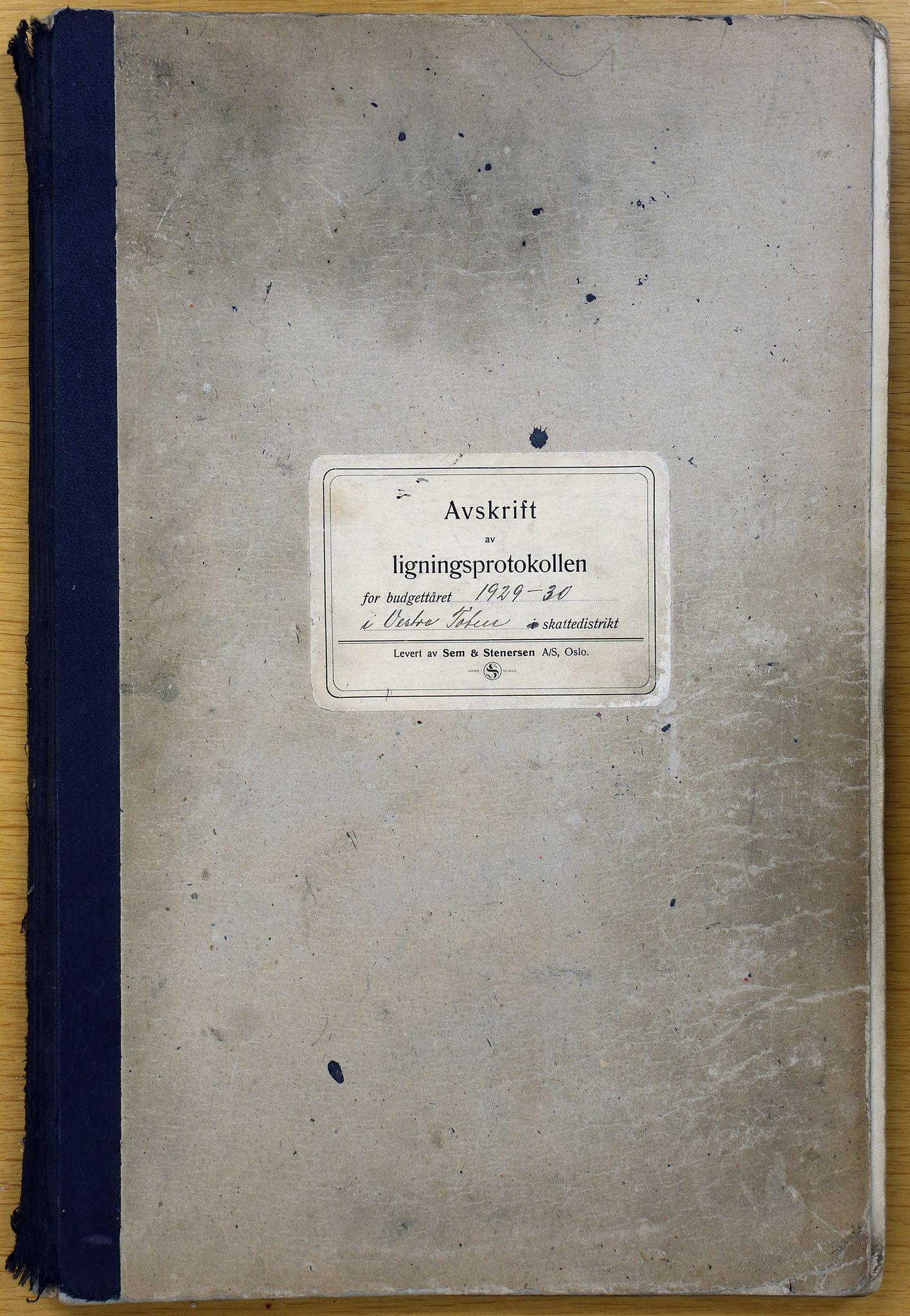 KVT, Vestre Toten kommunearkiv*, -: Avskrift av ligningsprotokollen for budsjettåret 1929-1930 for Vestre Toten skattedistrikt, 1929-1930