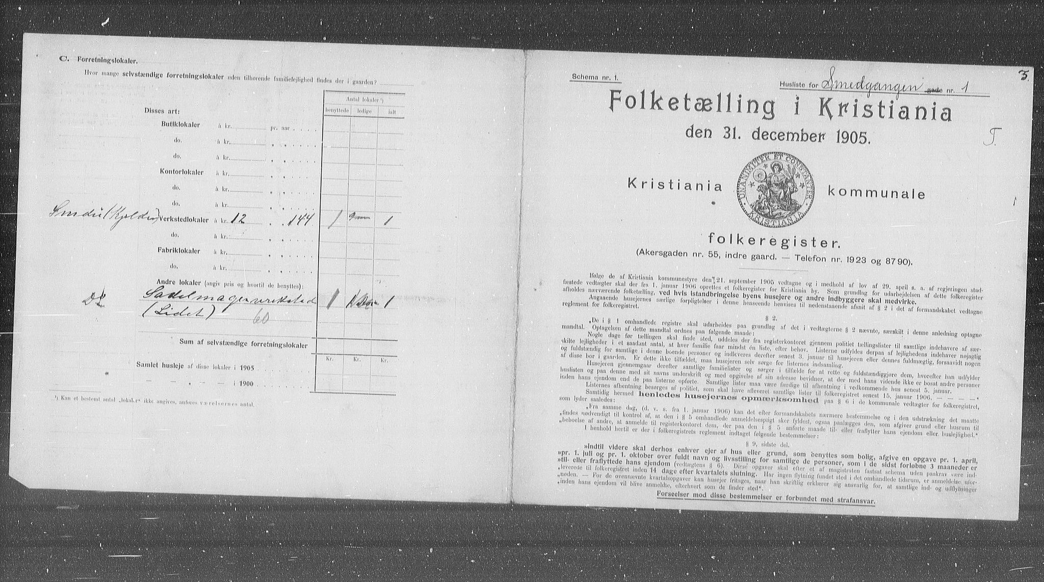 OBA, Municipal Census 1905 for Kristiania, 1905, p. 50685
