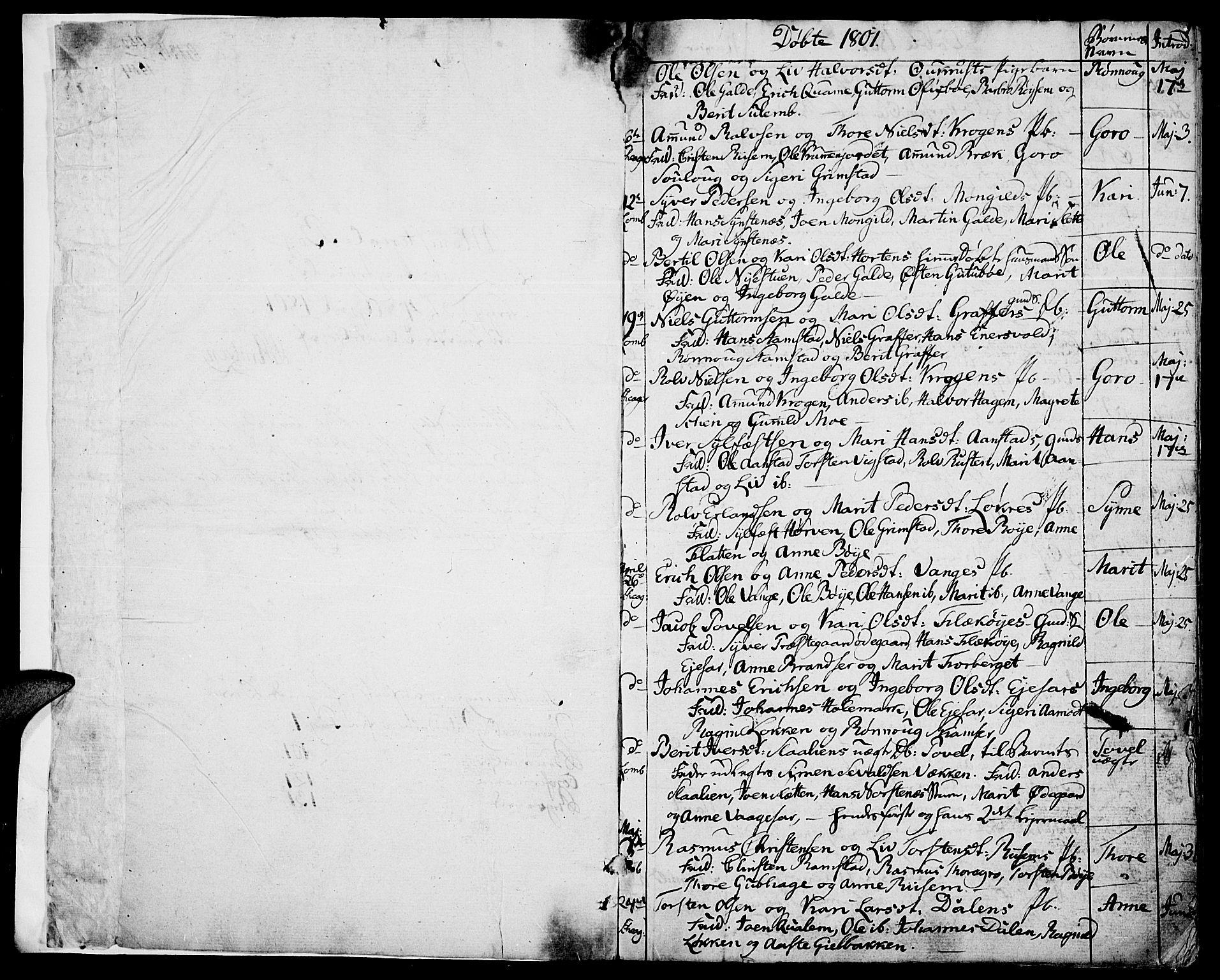 SAH, Lom prestekontor, K/L0003: Parish register (official) no. 3, 1801-1825, p. 1