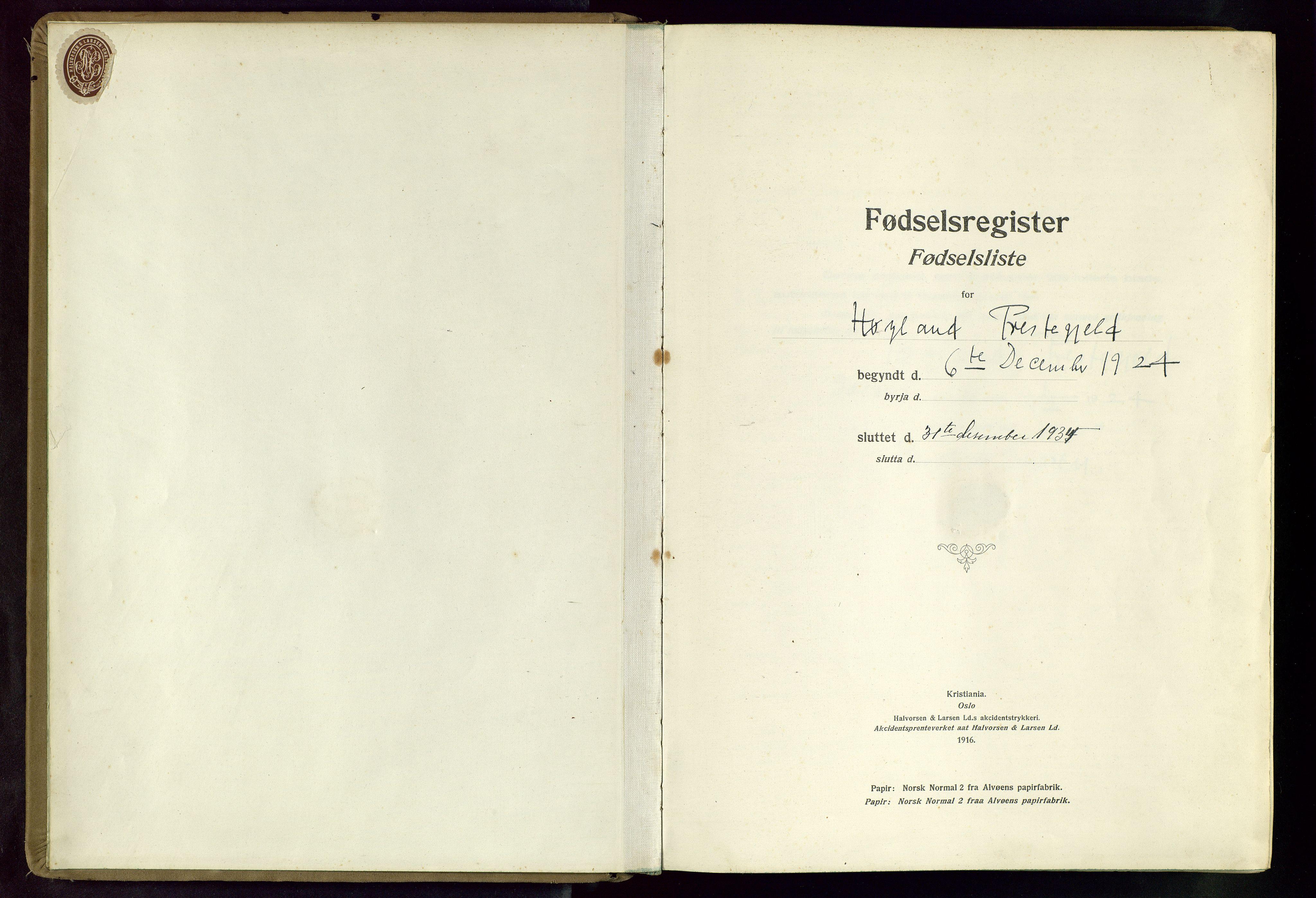 SAST, Høyland sokneprestkontor, O/L0002: Birth register no. 2, 1924-1934