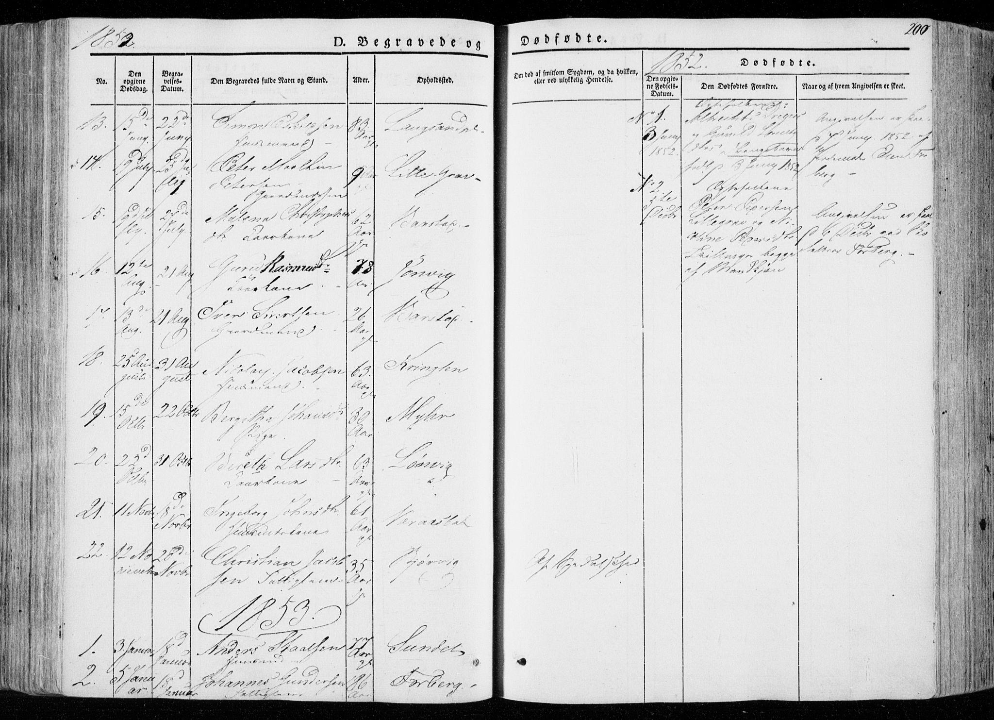 SAT, Ministerialprotokoller, klokkerbøker og fødselsregistre - Nord-Trøndelag, 722/L0218: Parish register (official) no. 722A05, 1843-1868, p. 200