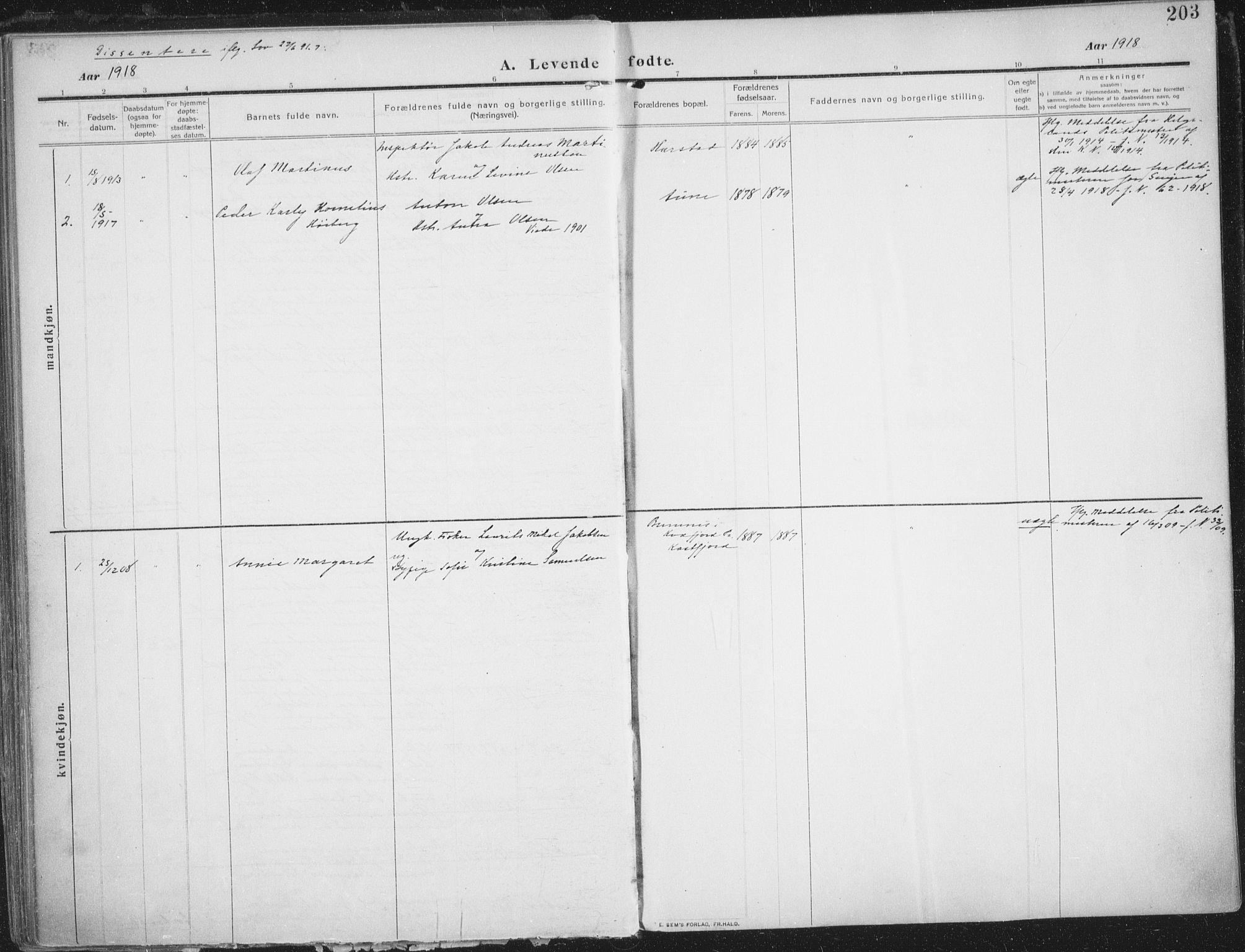 SATØ, Trondenes sokneprestkontor, H/Ha/L0018kirke: Parish register (official) no. 18, 1909-1918, p. 203