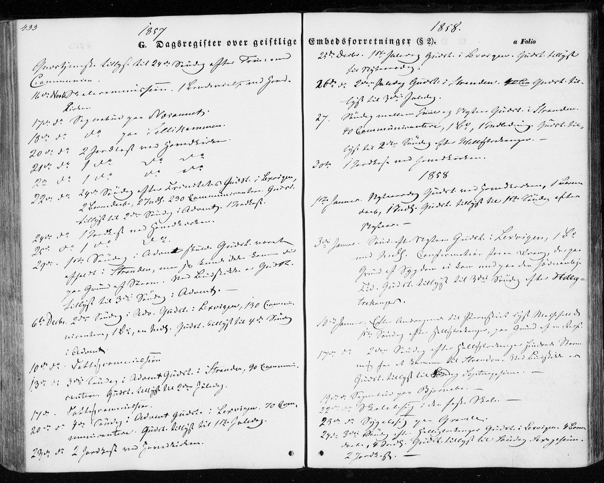 SAT, Ministerialprotokoller, klokkerbøker og fødselsregistre - Nord-Trøndelag, 701/L0008: Parish register (official) no. 701A08 /1, 1854-1863, p. 433
