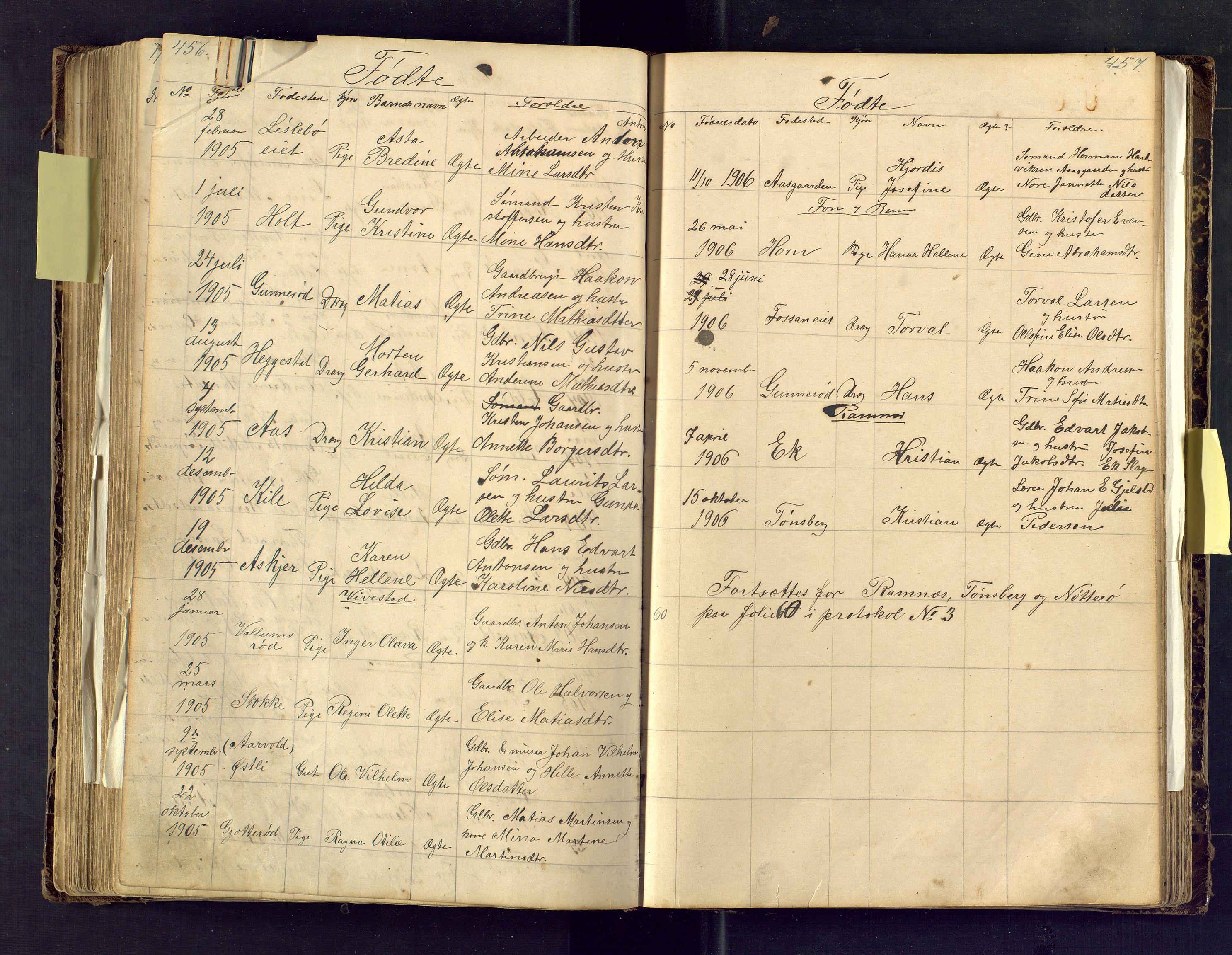 SAKO, Den evangelisk lutherske frimenighet i Jarlsbergs grevskap med flere steder, F/Fa/L0001: Dissenter register no. Fa/L0001, 1872-1925, p. 456-457
