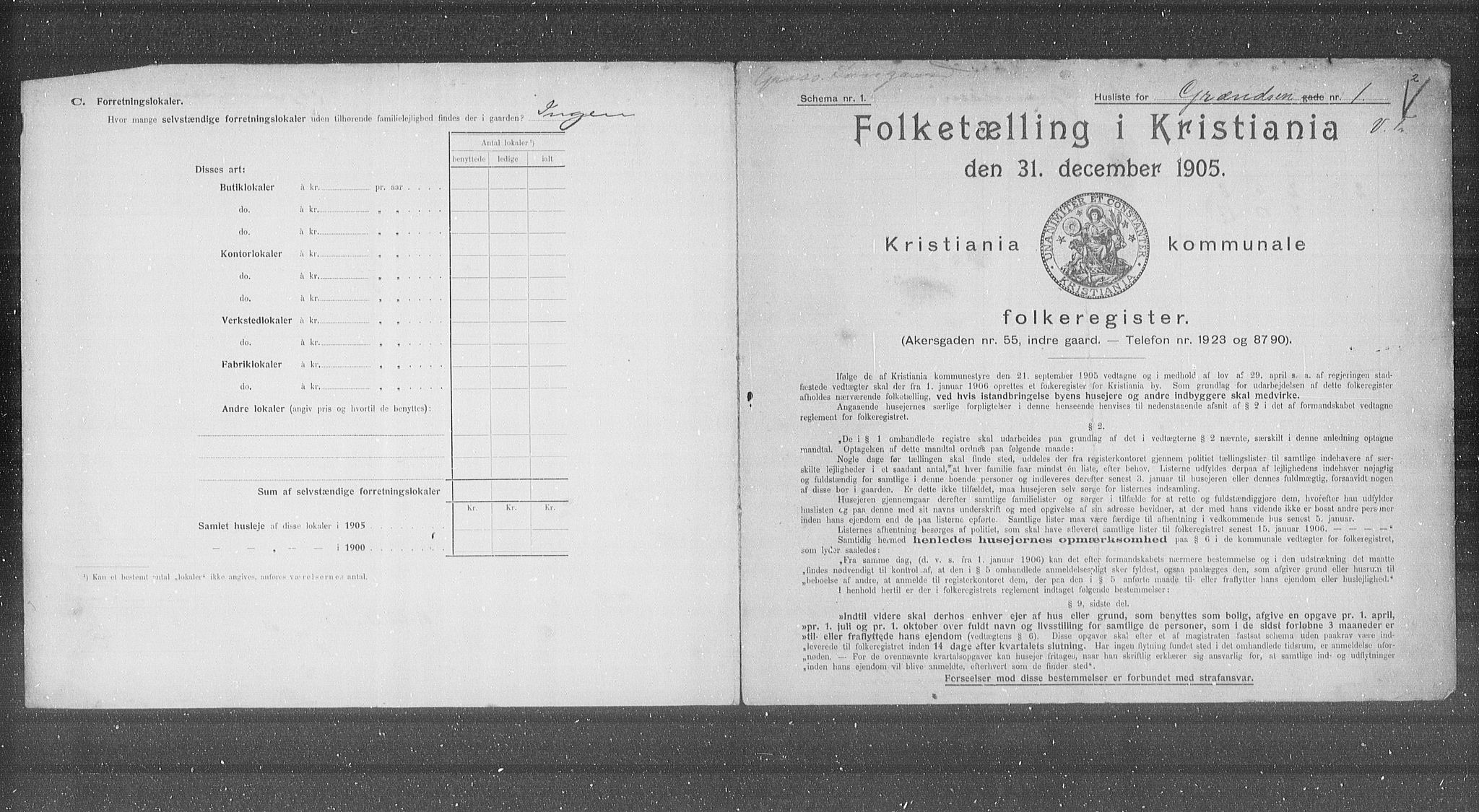 OBA, Municipal Census 1905 for Kristiania, 1905, p. 16124