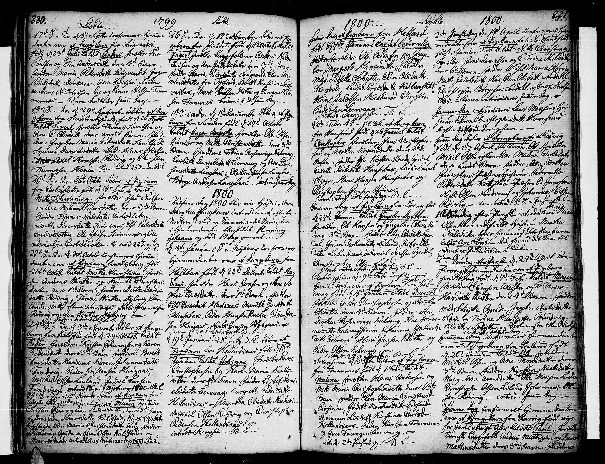SAT, Ministerialprotokoller, klokkerbøker og fødselsregistre - Nordland, 859/L0841: Parish register (official) no. 859A01, 1766-1821, p. 220-221