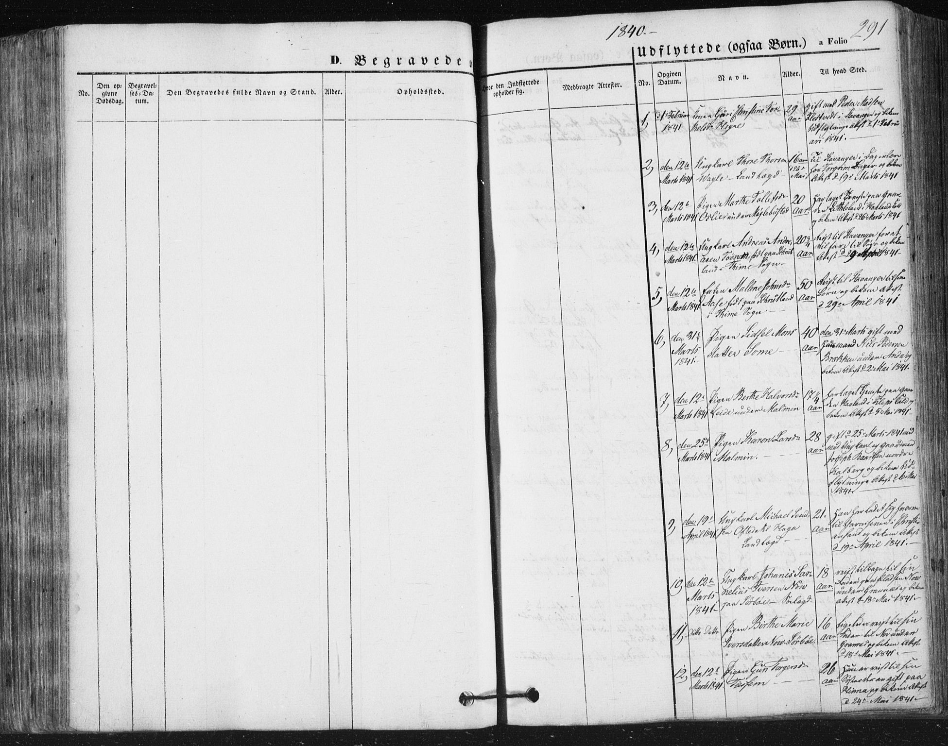 SAST, Høyland sokneprestkontor, 30BA/L0008: Parish register (official) no. A 8, 1841-1856, p. 291
