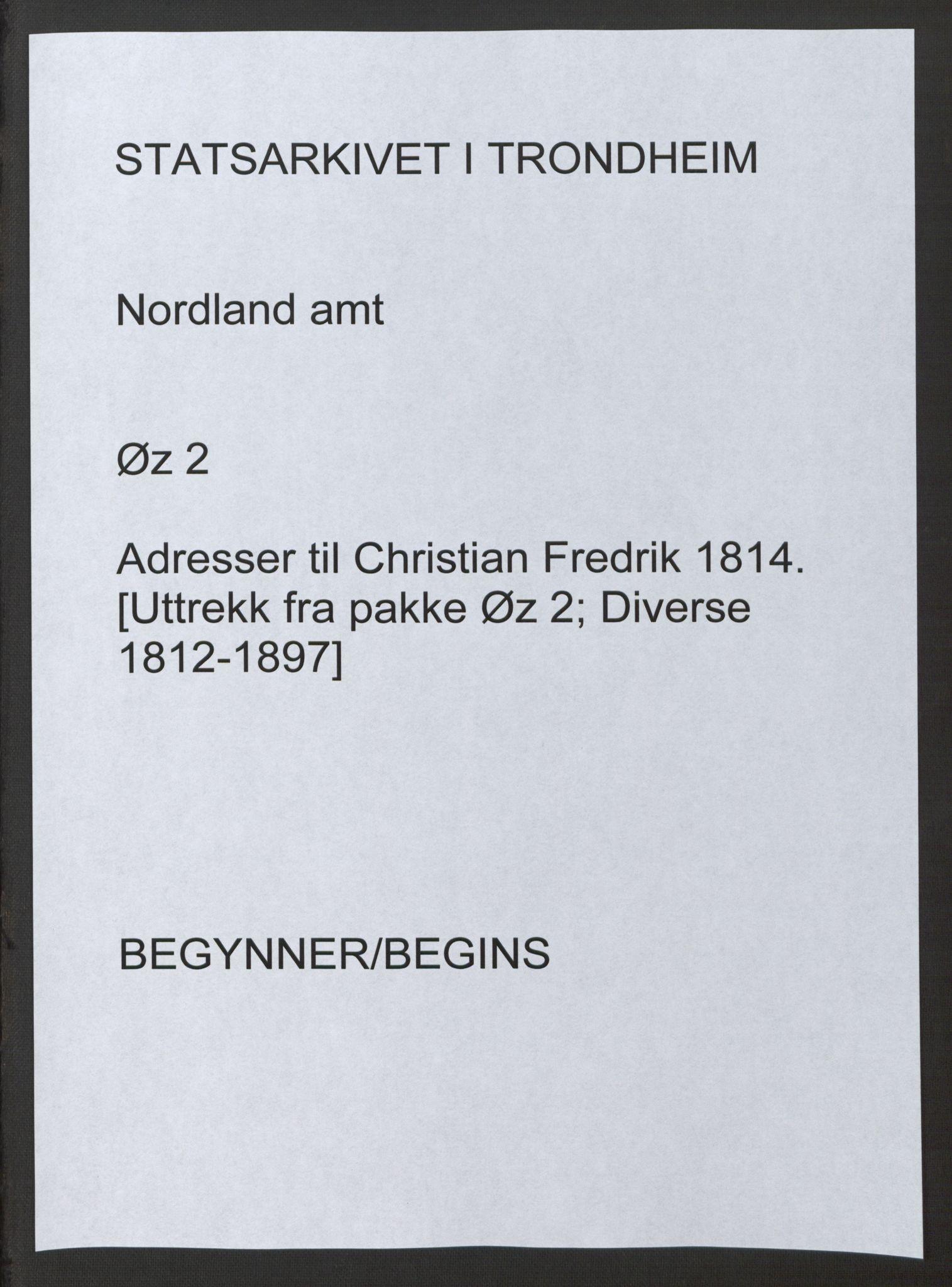SAT, Fylkesmannen i Nordland, Ø/Øz/L0002: Diverse, 1814, p. 1