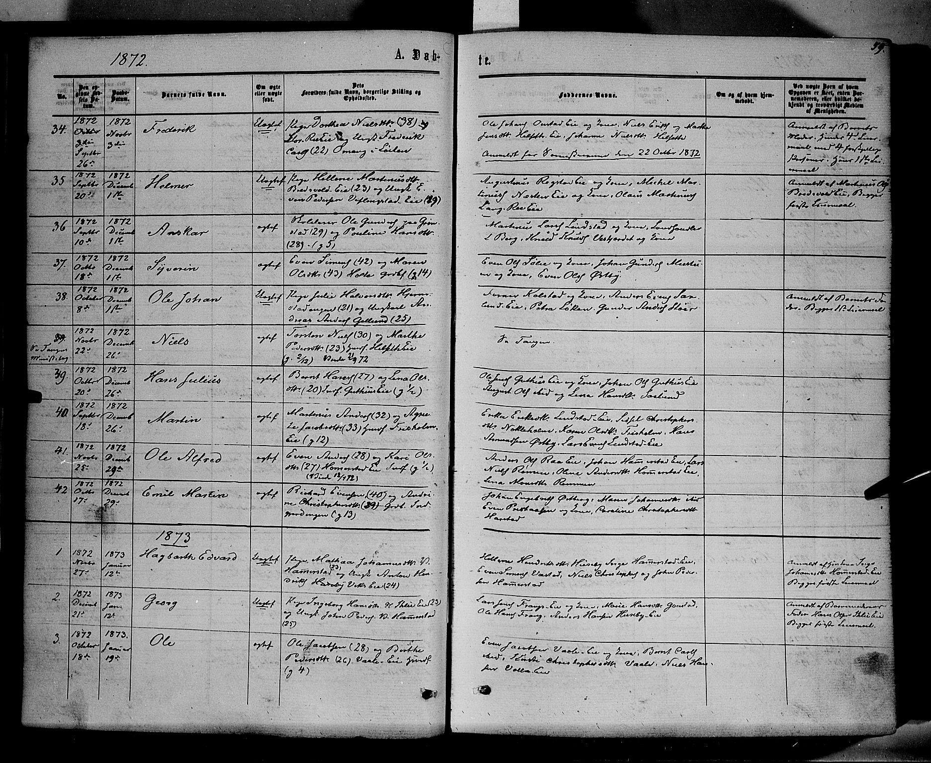 SAH, Stange prestekontor, K/L0013: Parish register (official) no. 13, 1862-1879, p. 59