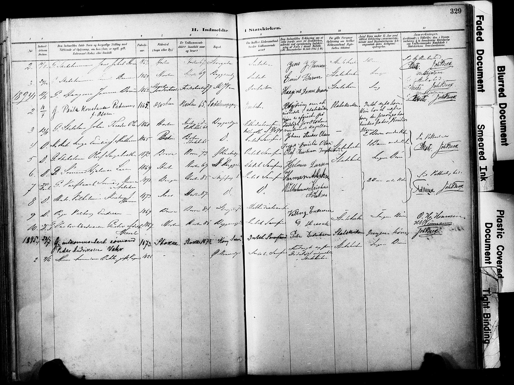 SAKO, Horten kirkebøker, F/Fa/L0004: Parish register (official) no. 4, 1888-1895, p. 329