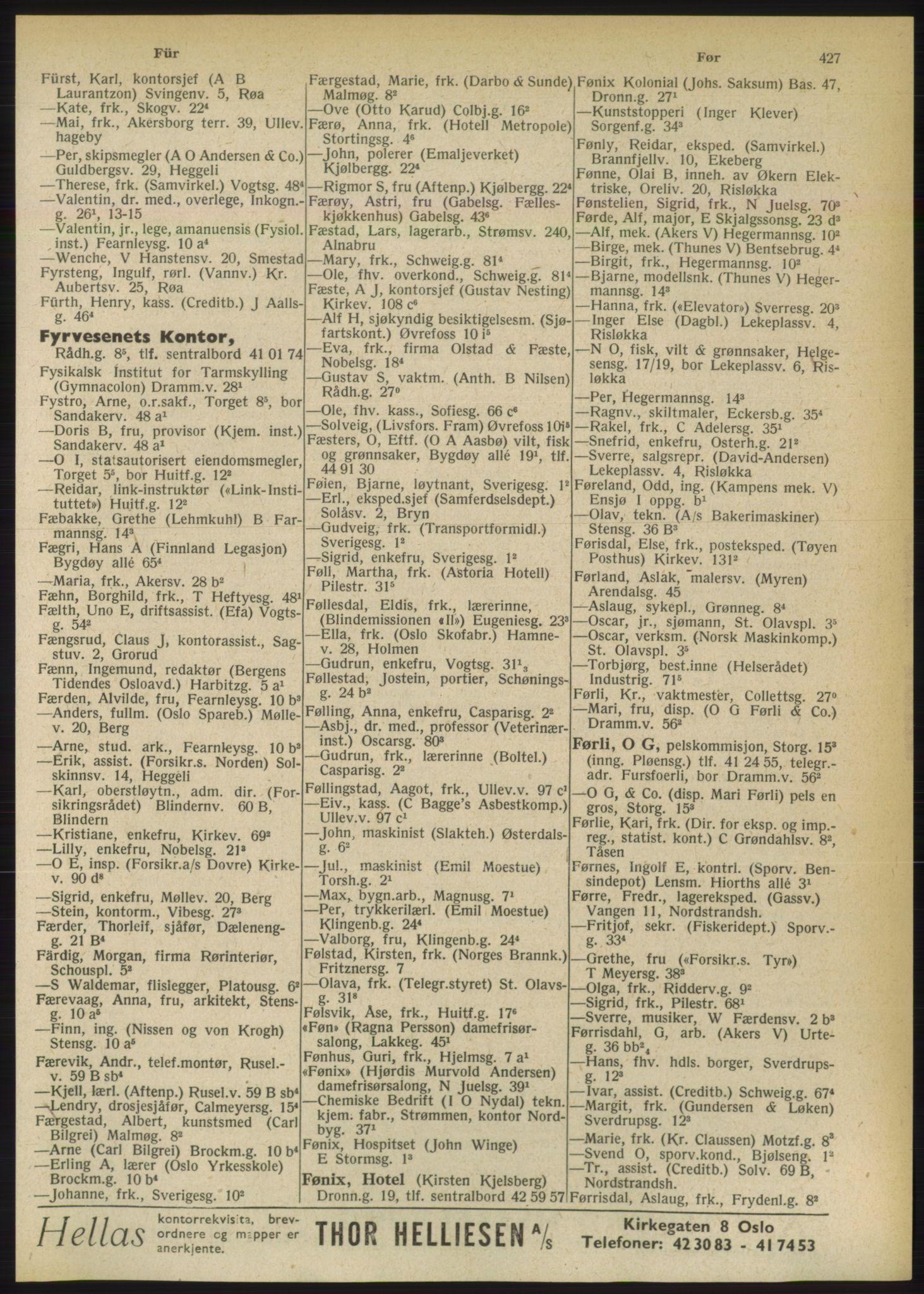 PUBL, Kristiania/Oslo adressebok, 1949, p. 427