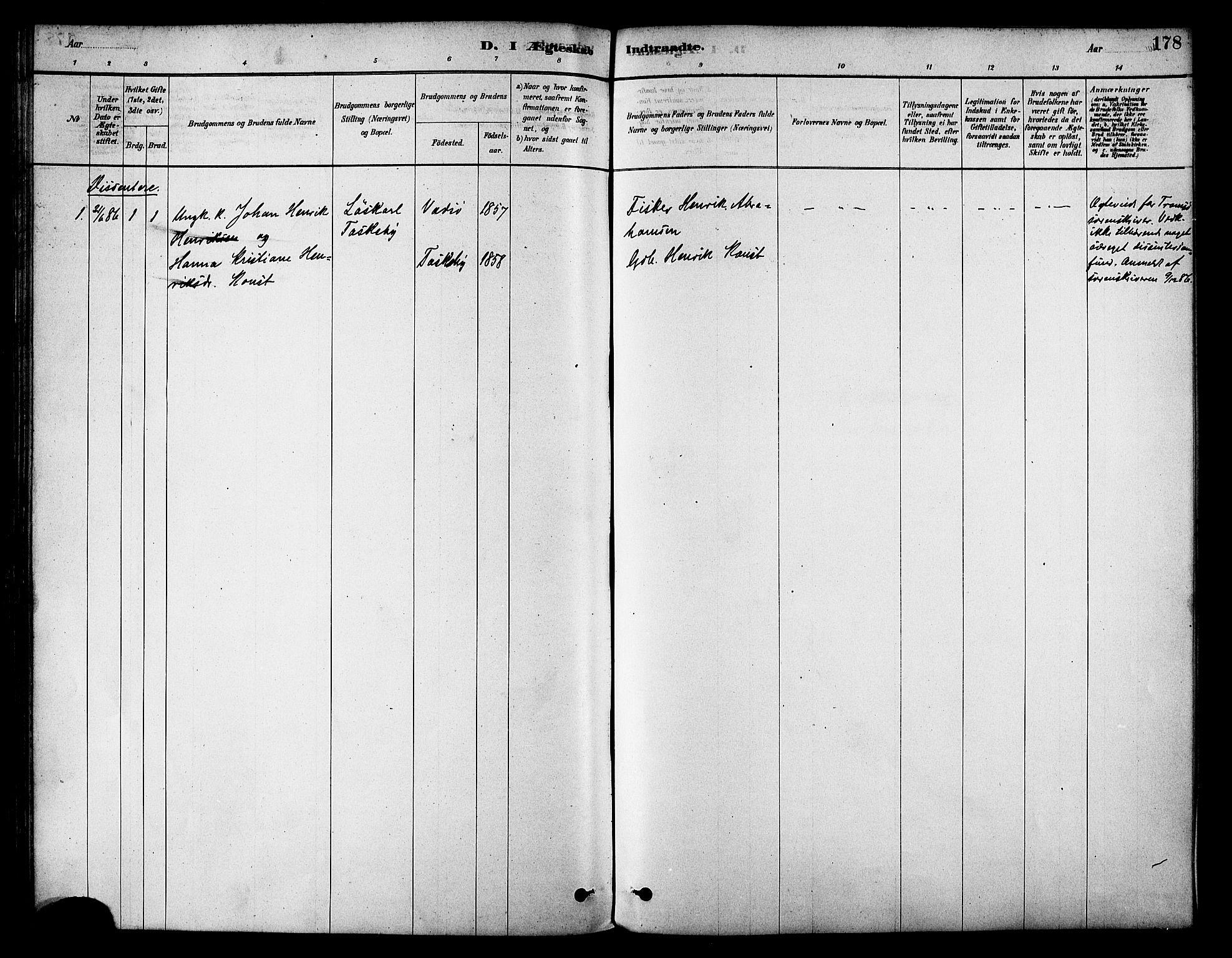 SATØ, Skjervøy sokneprestkontor, H/Ha/Haa/L0009kirke: Parish register (official) no. 9, 1878-1887, p. 178