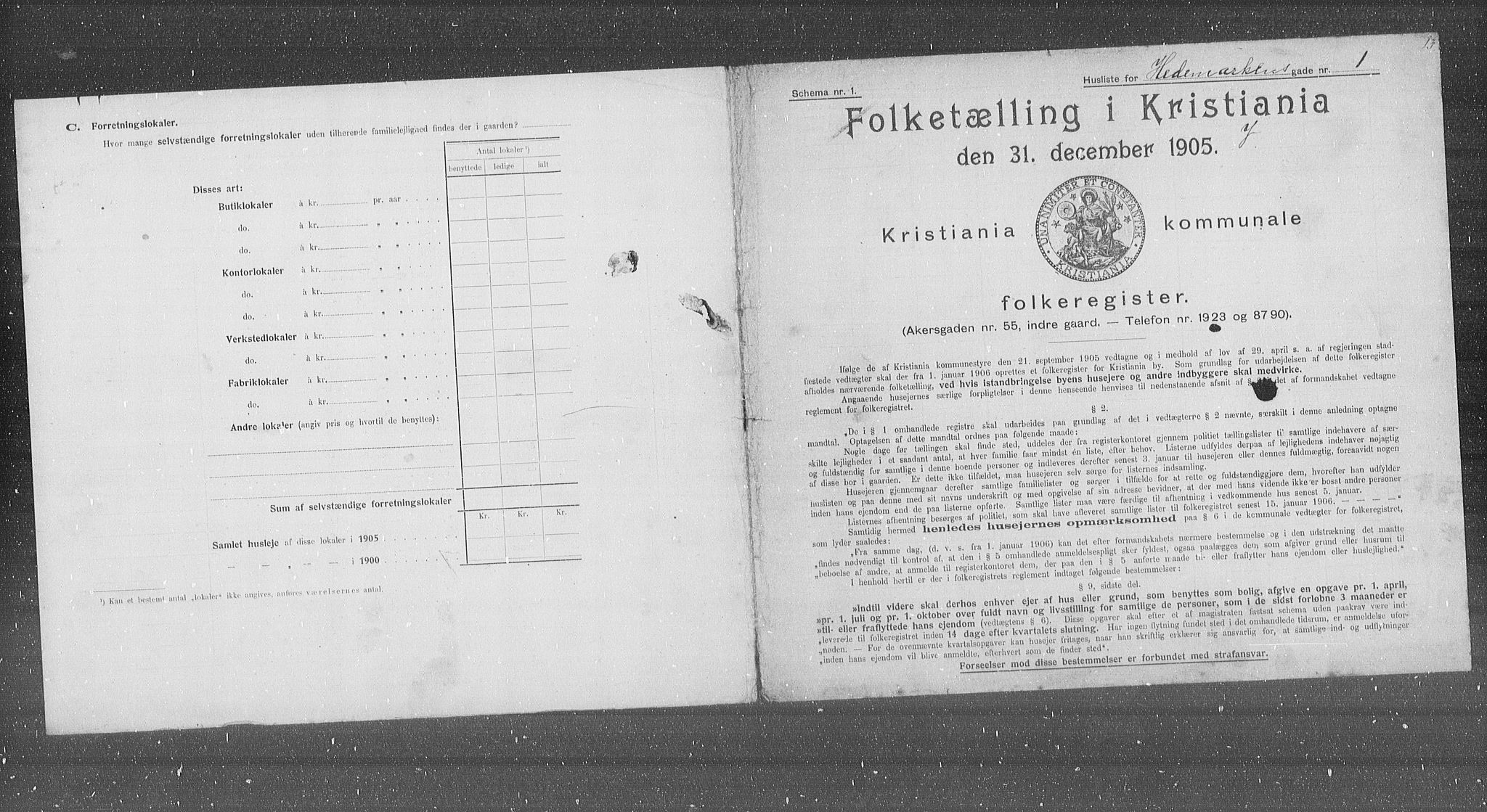 OBA, Municipal Census 1905 for Kristiania, 1905, p. 18922