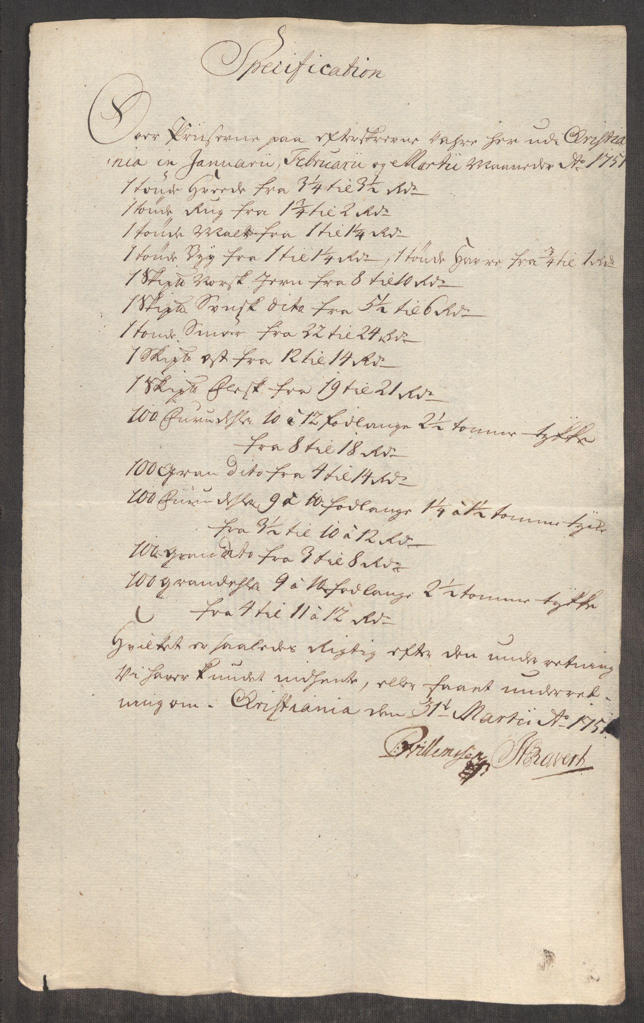 RA, Rentekammeret inntil 1814, Realistisk ordnet avdeling, Oe/L0004: [Ø1]: Priskuranter, 1749-1752, p. 519
