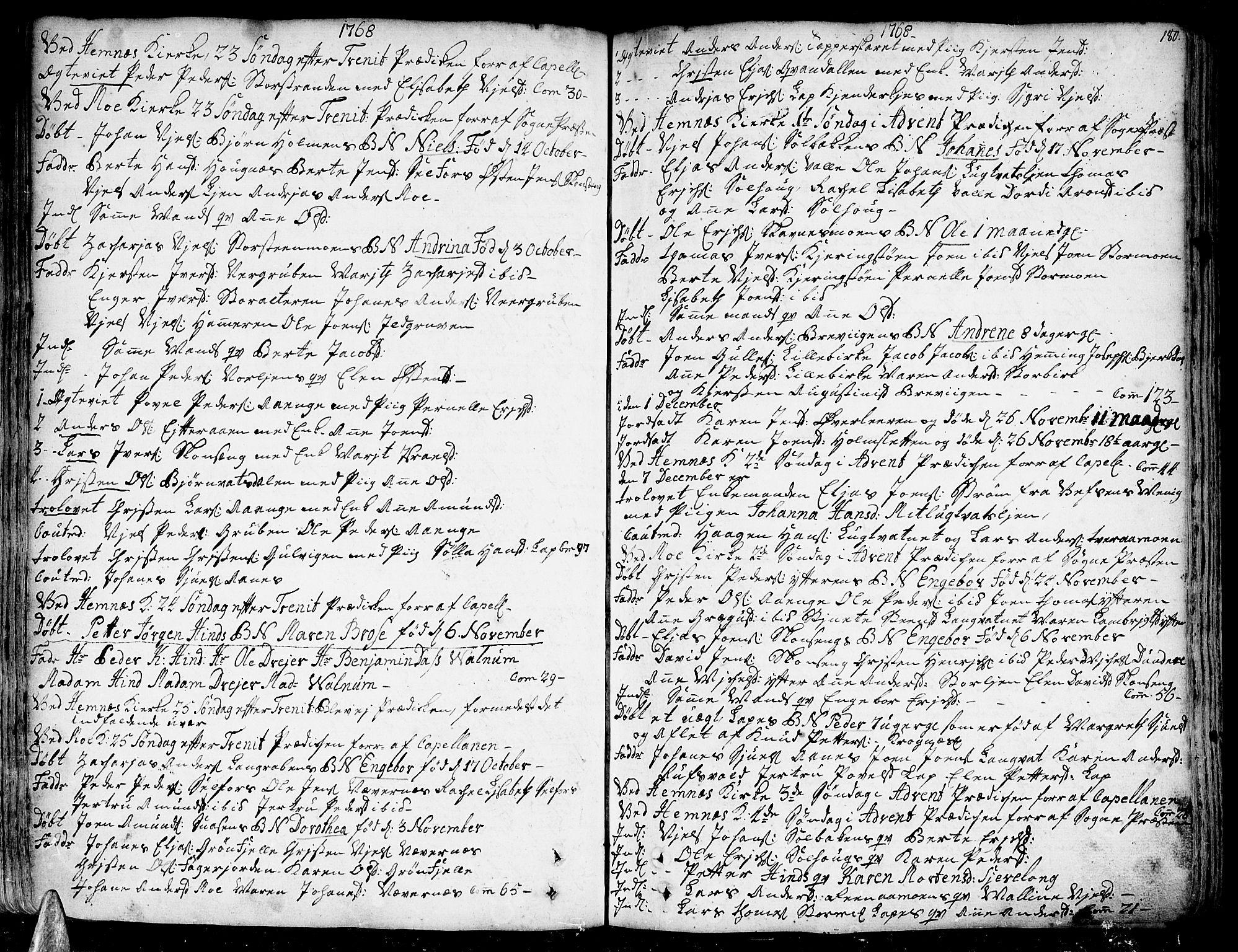 SAT, Ministerialprotokoller, klokkerbøker og fødselsregistre - Nordland, 825/L0348: Parish register (official) no. 825A04, 1752-1788, p. 180