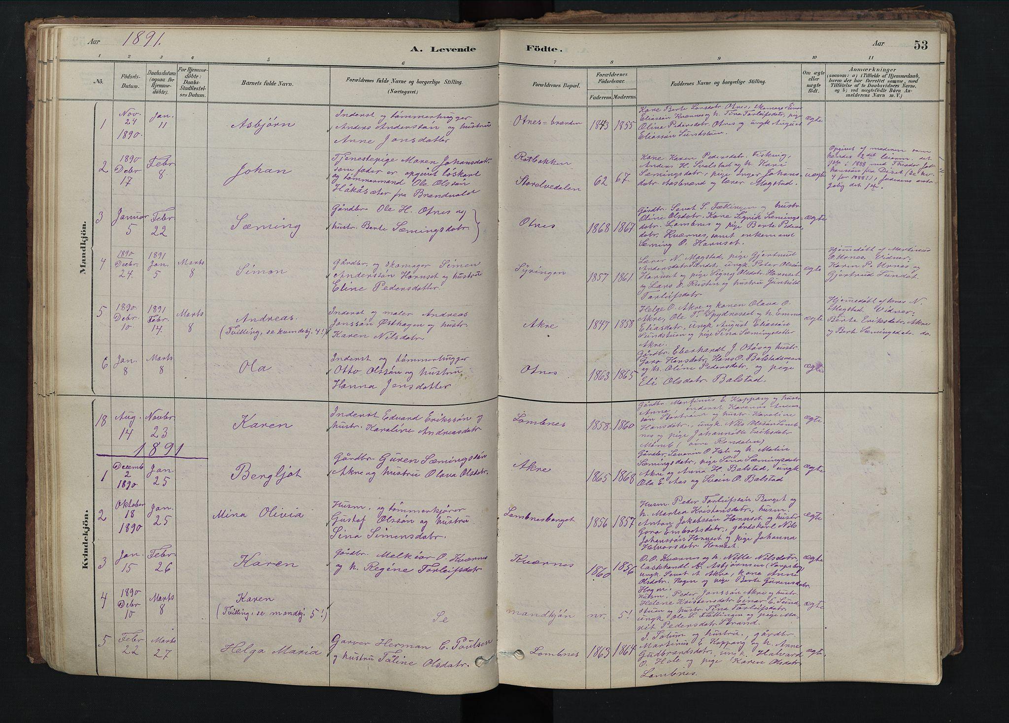SAH, Rendalen prestekontor, H/Ha/Hab/L0009: Parish register (copy) no. 9, 1879-1902, p. 53