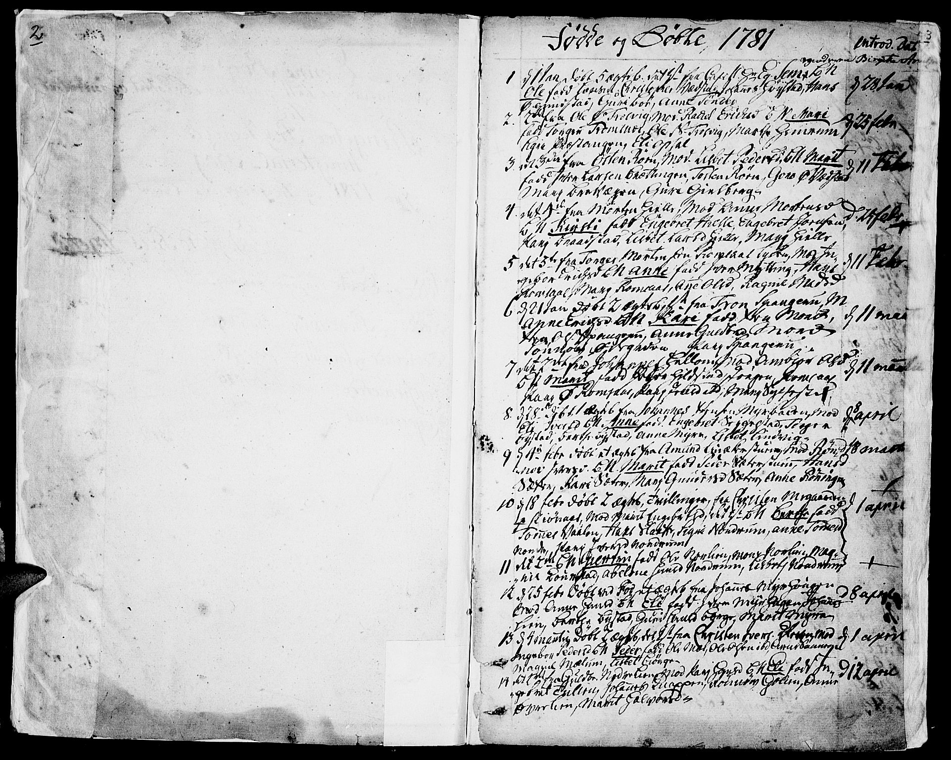 SAH, Ringebu prestekontor, Parish register (official) no. 3, 1781-1820, p. 2-3
