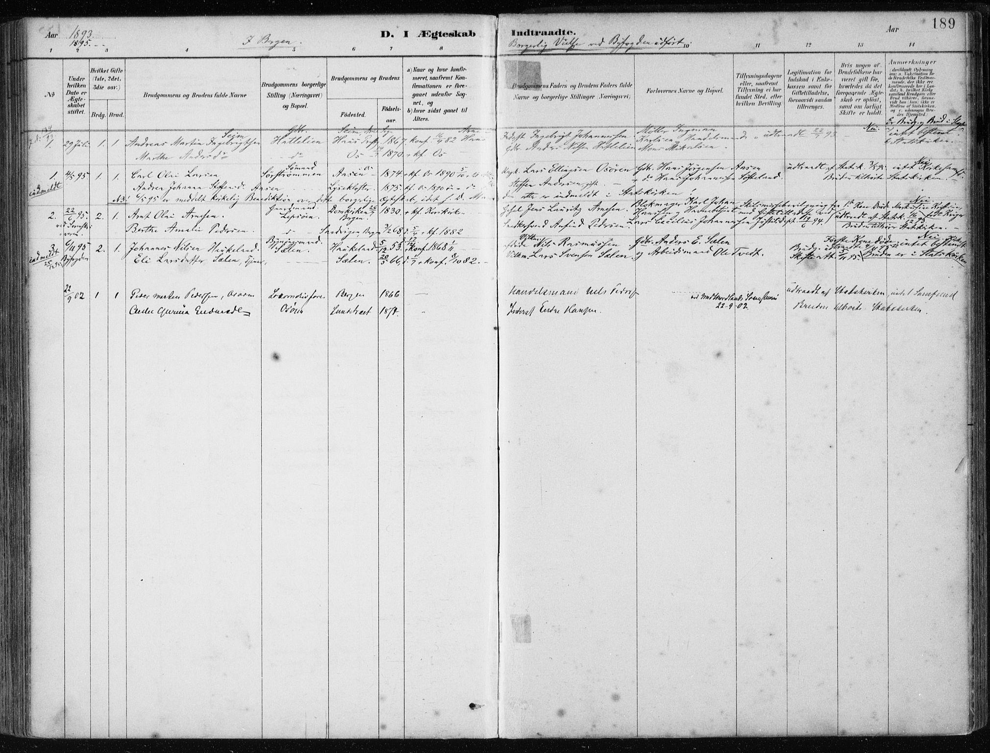 SAB, Os sokneprestembete*, Parish register (official) no. B 1, 1885-1902, p. 189